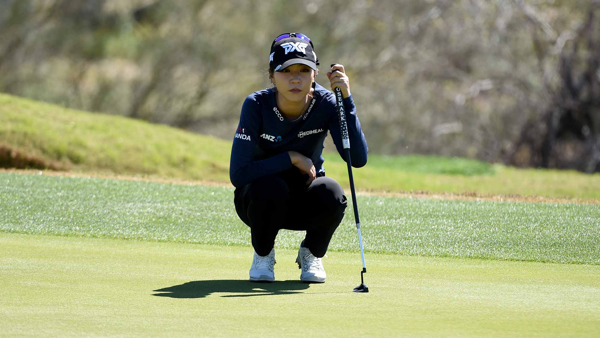 Lydia Ko of New Zealand lines up a putt on the third hole during the second round of the Bank Of Hope Founders Cup at the Wildfire Golf Club on March 22, 2019 in Phoenix, Arizona