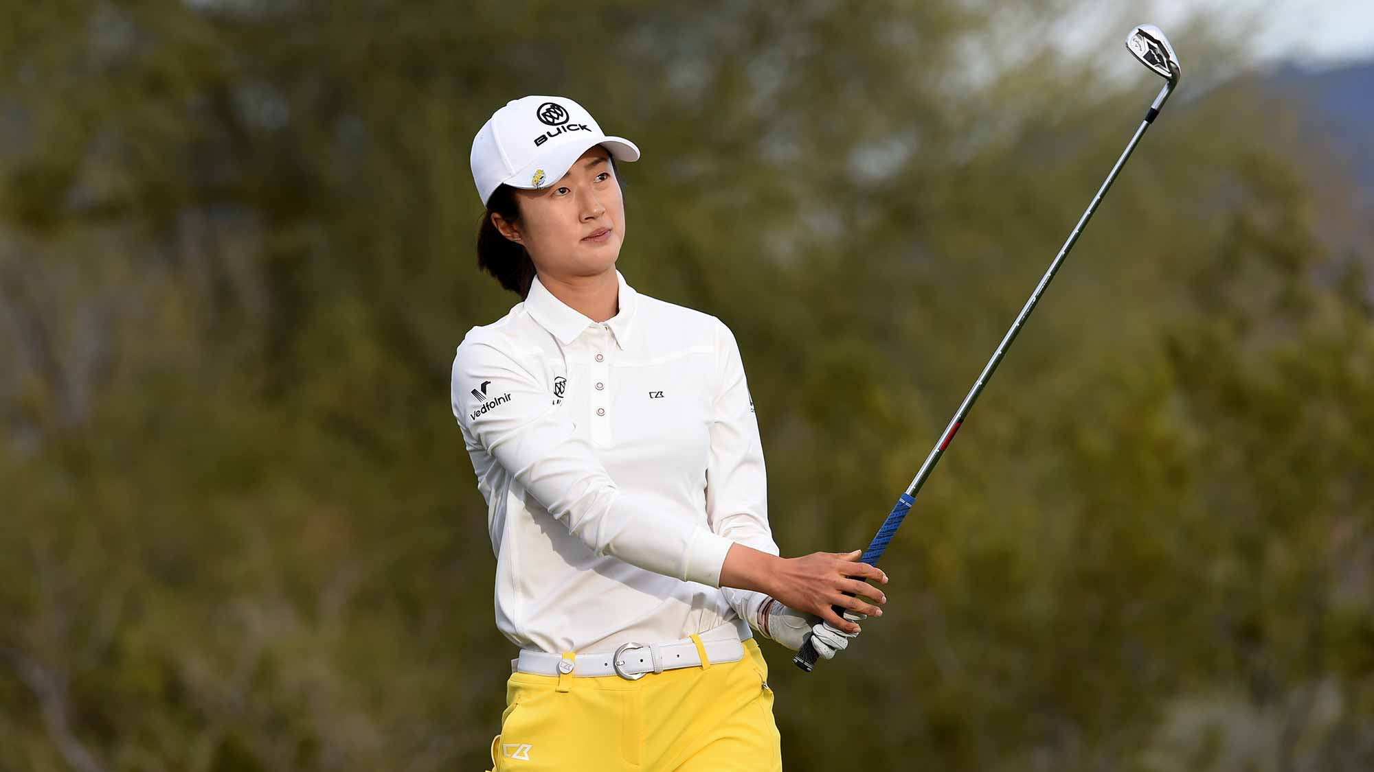 Yu Liu of China hits her tee shot on the 17th hole during the third round of the Bank Of Hope Founders Cup at the Wildfire Golf Club on March 23, 2019 in Phoenix, Arizona