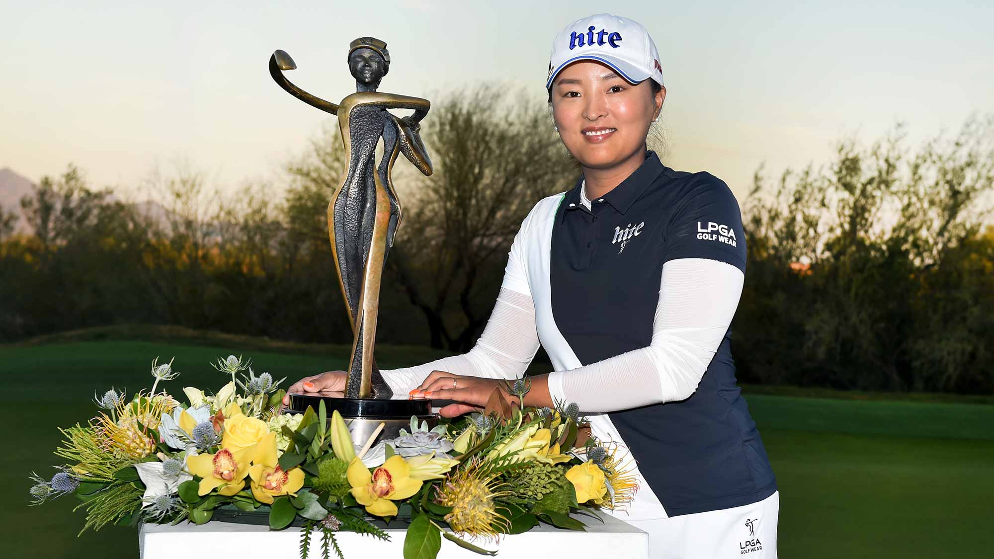 Jin Young Ko of South Korea poses with the trophy after winning the Bank Of Hope Founders Cup at the Wildfire Golf Club on March 24, 2019 in Phoenix, Arizona