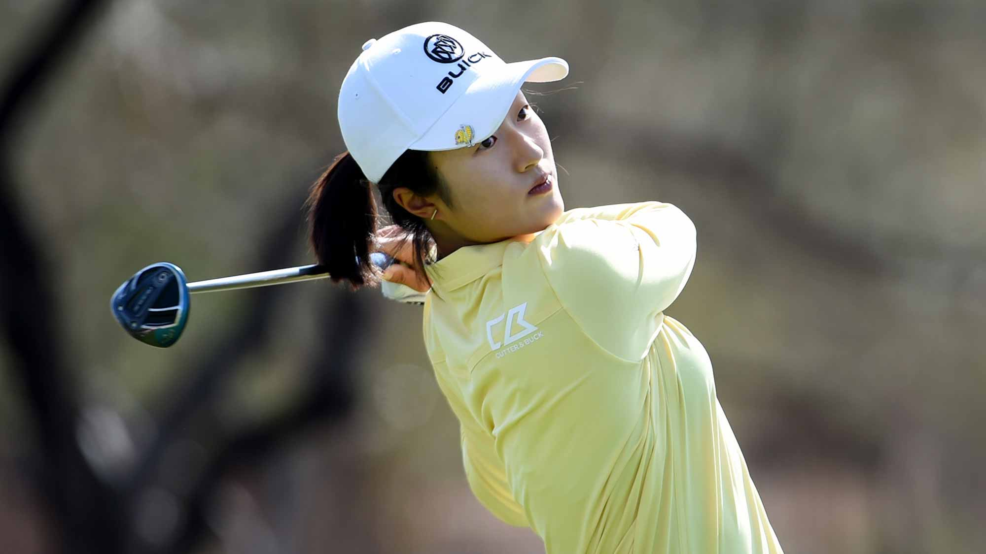Yu Liu of China hits her tee shot on the 13th hole during the final round of the Bank Of Hope Founders Cup at the Wildfire Golf Club on March 24, 2019 in Phoenix, Arizona