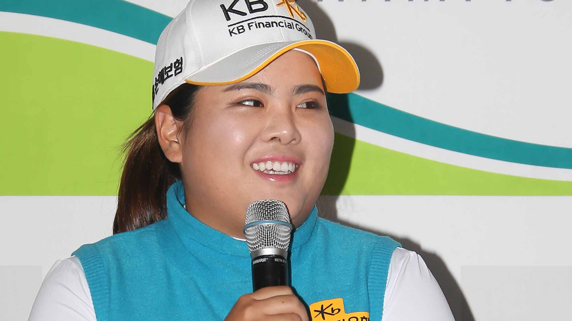 Inbee Park Addresses The Media During A Pre-Tournament Press Conference at LPGA KEB Hana Bank Championship