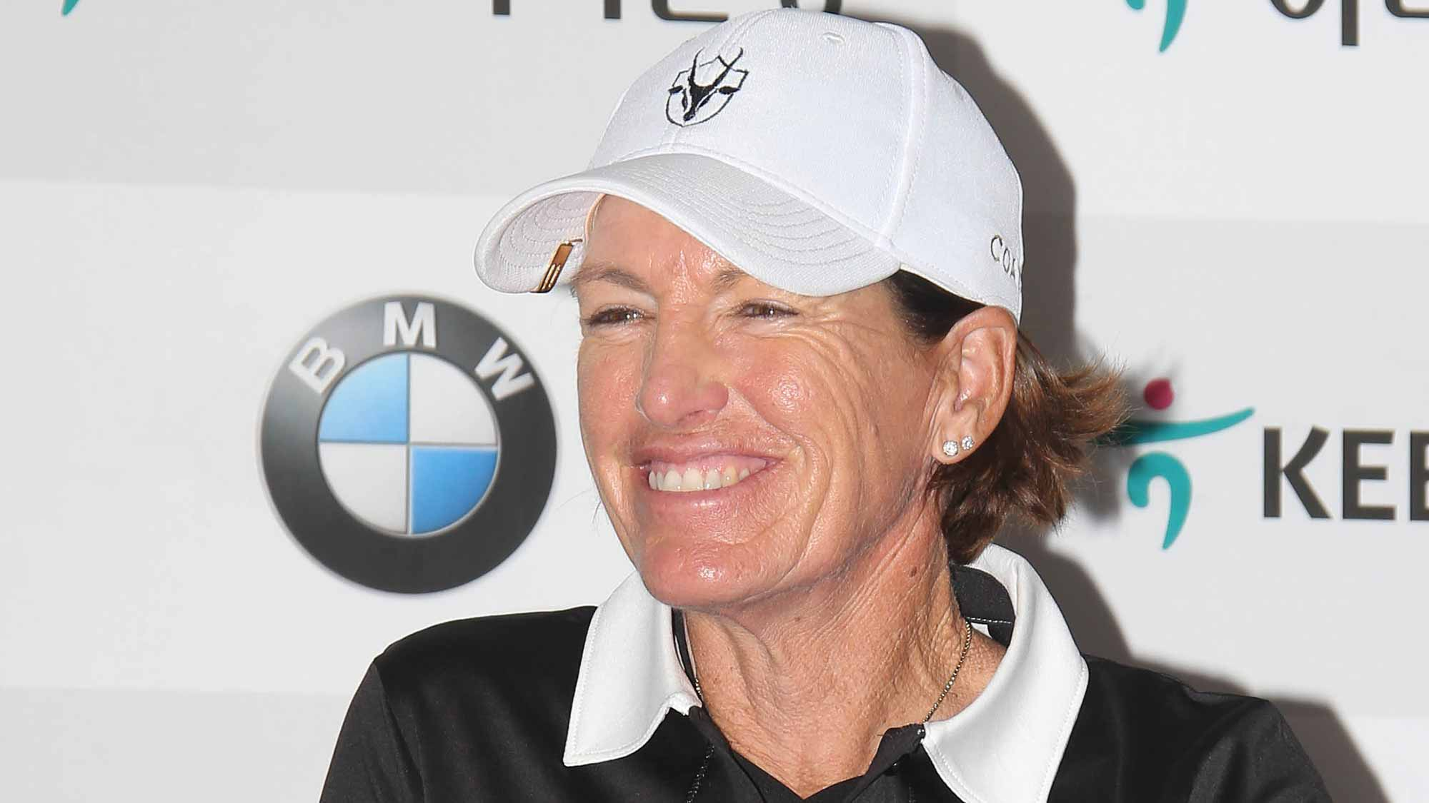 Juli Inkster Addresses The Media During A Pre-Tournament Press Conference at LPGA KEB Hana Bank Championship