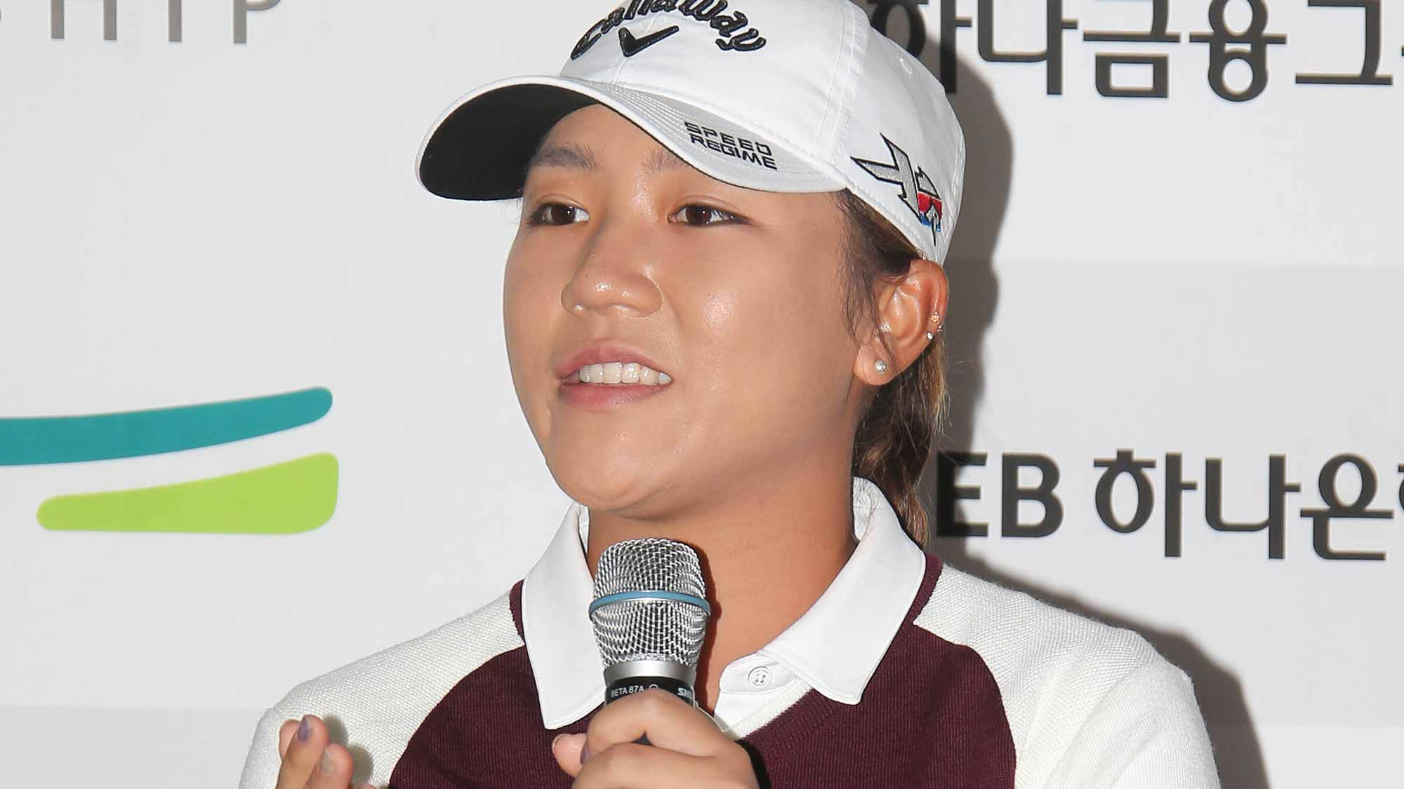 Lydia Ko Addresses The Media During A Pre-Tournament Press Conference at LPGA KEB Hana Bank Championship
