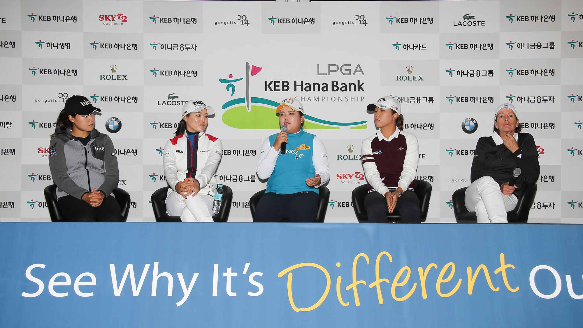 (From Left To Right) In Gee Chun, So Yeon Ryu, Inbee Park, Lydia Ko and Juli Inkster Address The Media During A Pre-Tournament Press Conference at LPGA KEB Hana Bank Championship