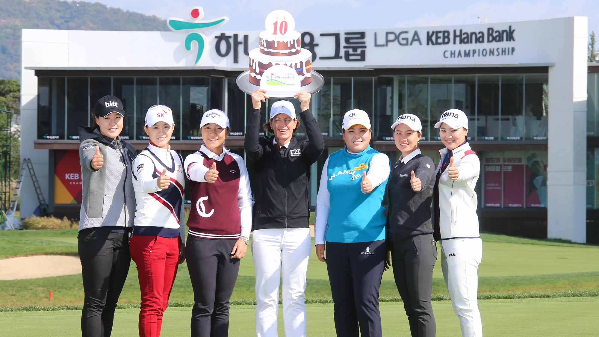 (From Left To Right) In Gee Chun, Na Yeon Choi, Lydia Ko, Juli Inkster, Inbee Park, Minjee Lee and So Yeon Ryu During Photocall at LPGA KEB Hana Bank Championship