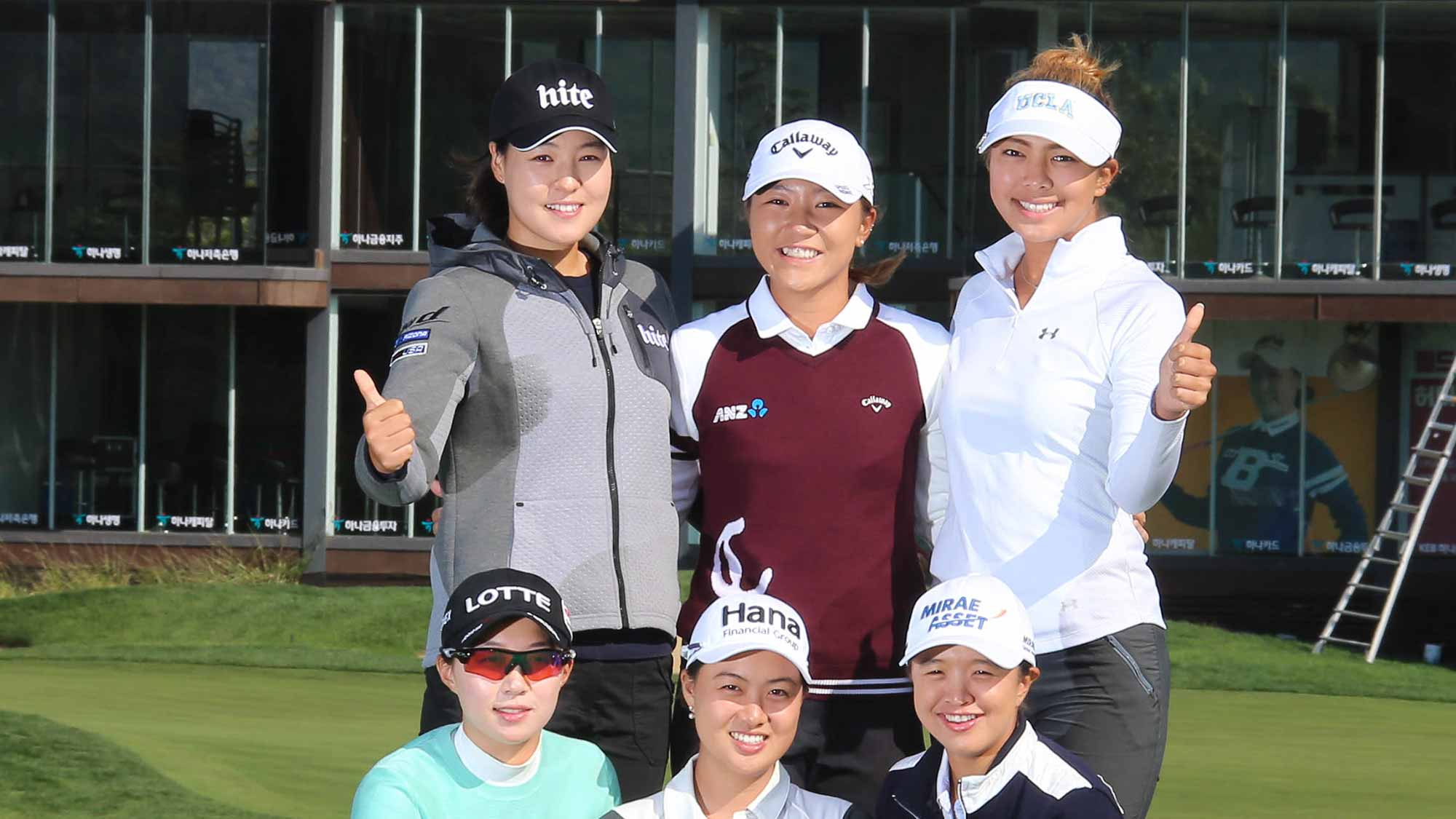 Clockwise: In Gee Chun, Lydia Ko, Alison Lee, Sei Young Kim, Minjee Lee, and Hyo Joo Kim During Photocall at LPGA KEB Hana Bank Championship