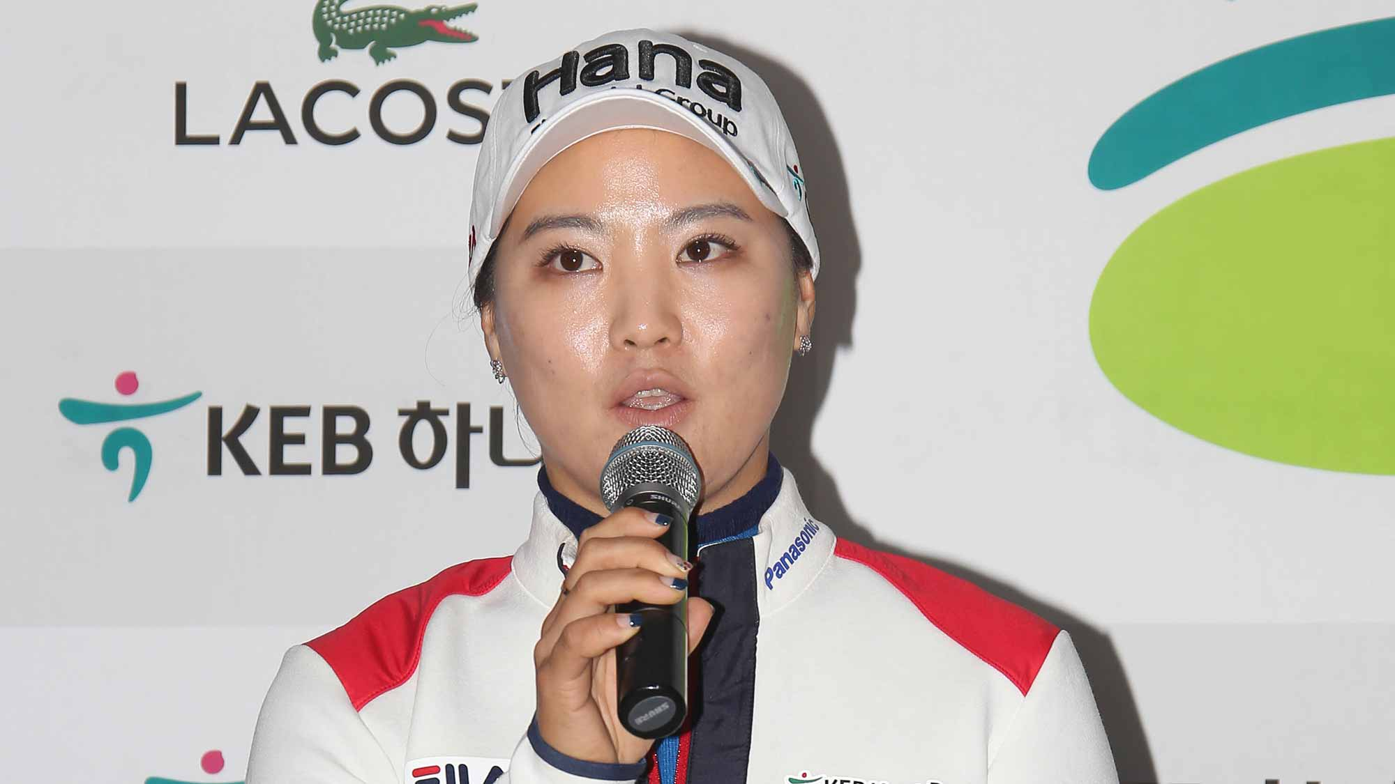 So Yeon Ryu Addresses The Media During A Pre-Tournament Press Conference at LPGA KEB Hana Bank Championship