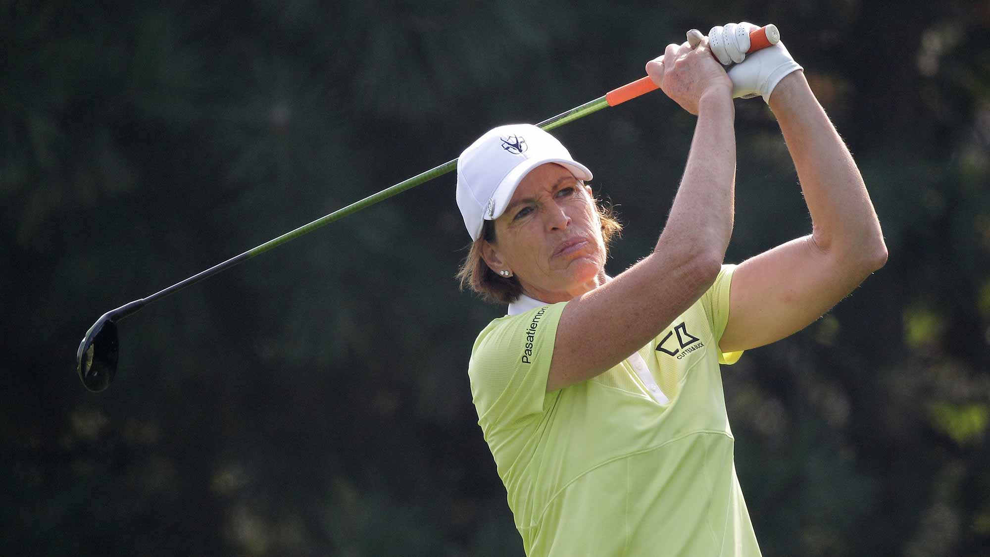 Juli Inkster of United States plays a tee shot on the 4th hole during round two of the LPGA KEB Hana Bank Championship