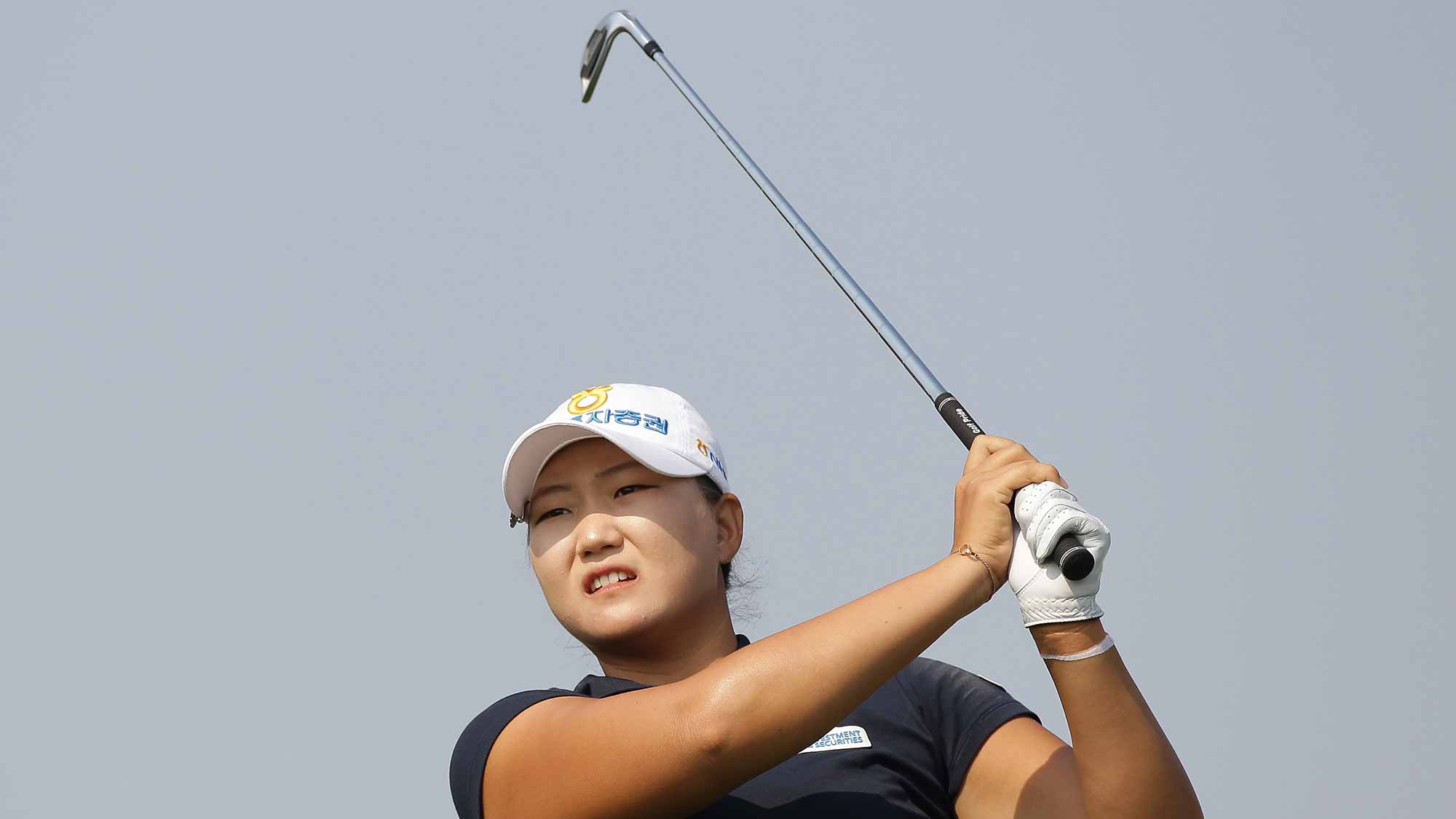 Mirim Lee of South Korea plays a tee shot on the 3rd hole during round two of the LPGA KEB Hana Bank Championship