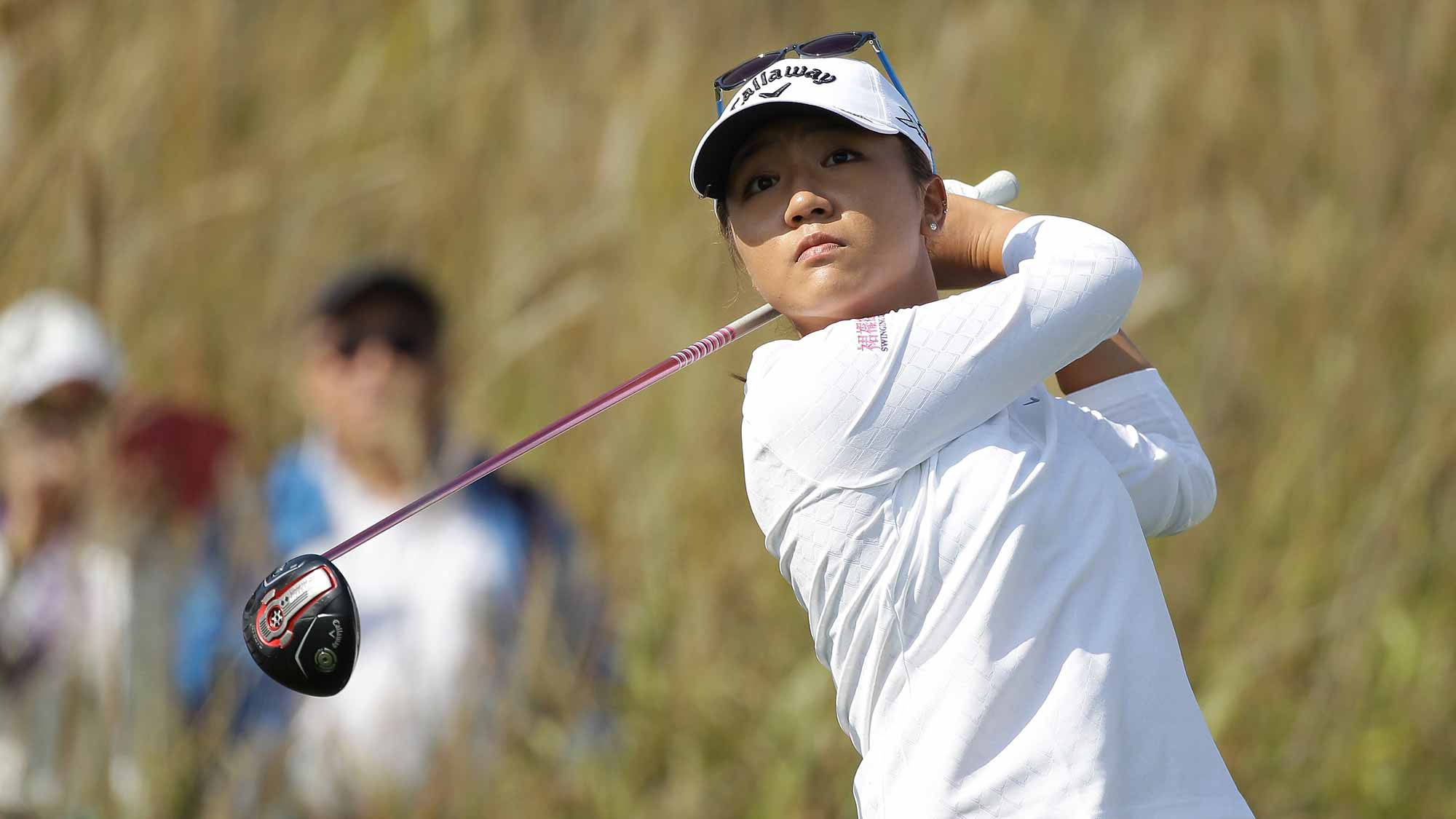Lydia Ko of New Zealand plays a tee shot on the 9th hole during round three of the LPGA KEB Hana Bank