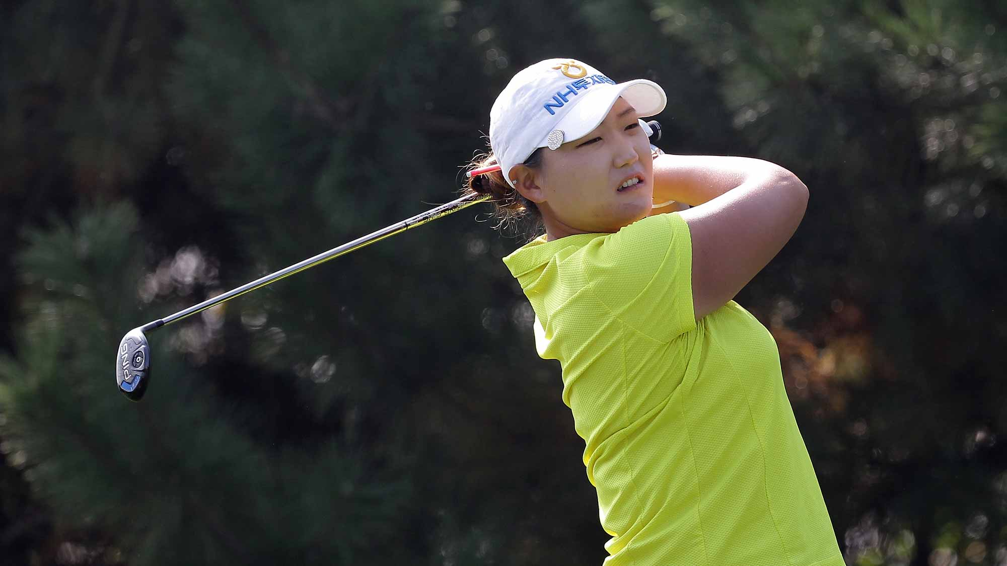 Mirim Lee of South Korea plays a tee shot on the 4th hole during round three of the LPGA KEB Hana Bank