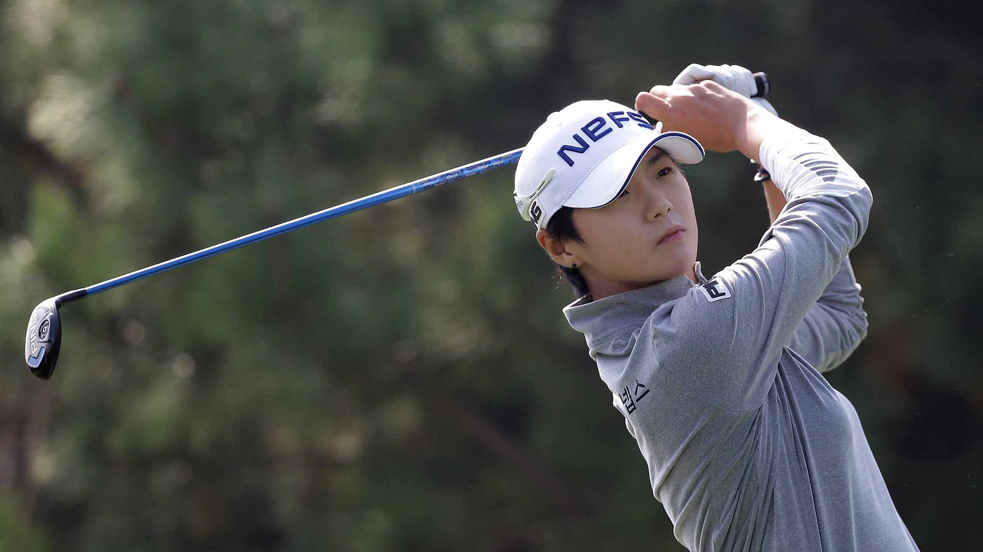 Sung Hyun Park of South Korea plays a tee shot on the 4th hole during round three of the LPGA KEB Hana Bank