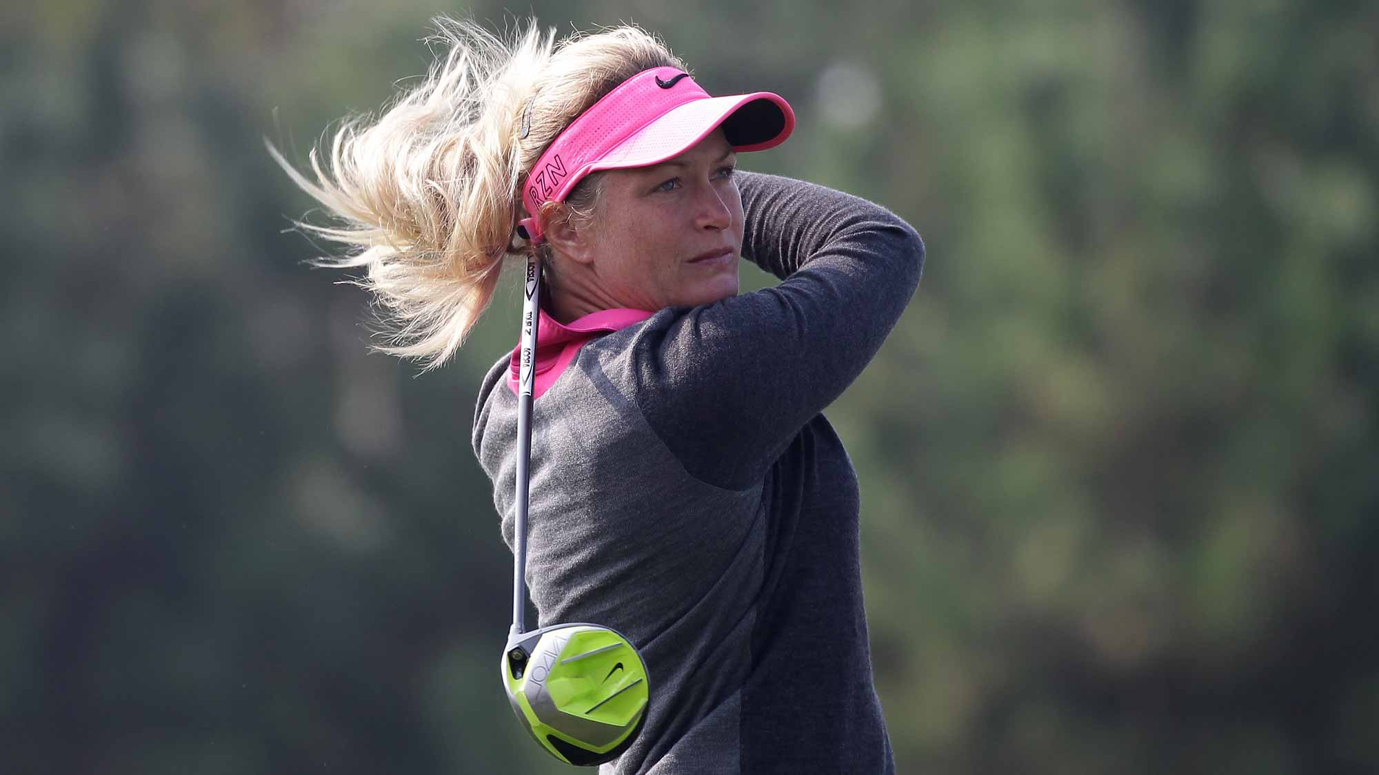 Suzann Pettersen of Norway plays a tee shot on the 2nd hole during round four of the LPGA KEB Hana Bank