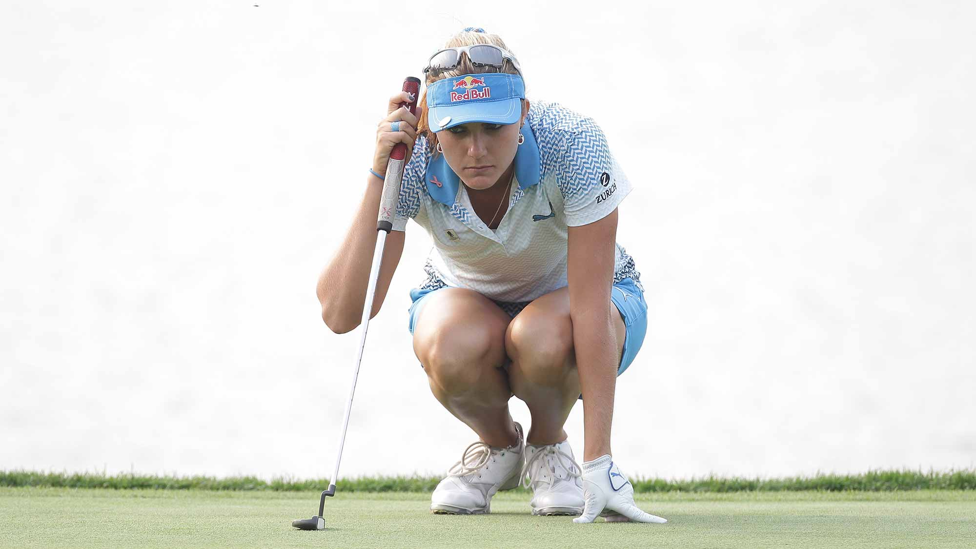Lexi Thompson of United States looks over a green on the 18th green during round four of the LPGA KEB Hana Bank