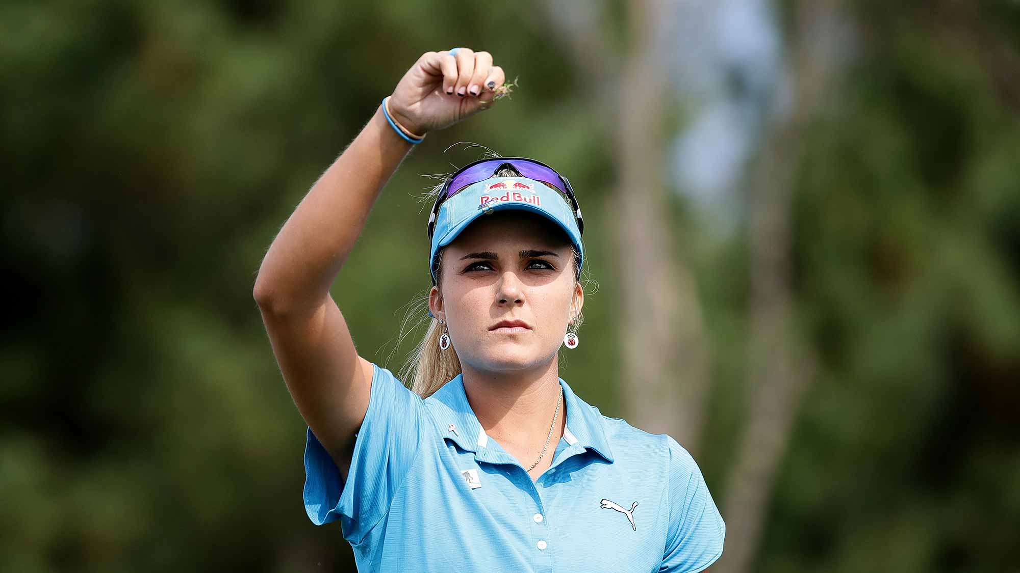 Lexi Thompson of United States on the 3rd hole during the first round of the LPGA KEB-Hana Bank Championship at the Sky 72 Golf Club Ocean Course