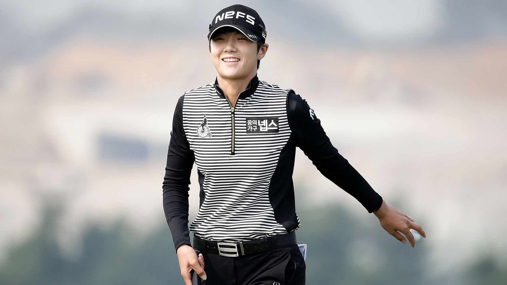 Sung-Hyun Park of South Korea reacts after a birdie putt on the 6th green during the second round of the LPGA KEB-Hana Bank Championship at the Sky 72 Golf Club Ocean Course