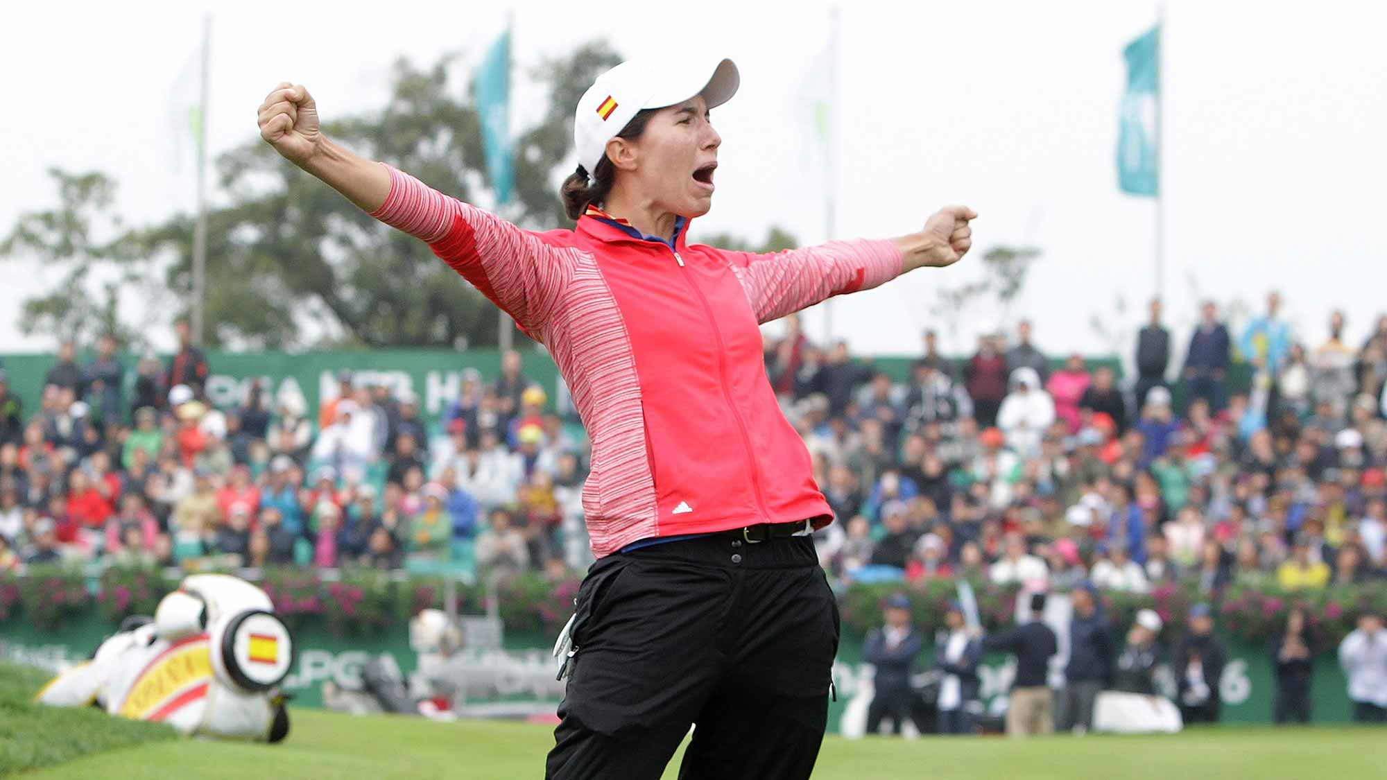 Carlota Ciganda of Spain celebrates after a winning putt on the 18th green during the final round of the LPGA KEB-Hana Bank Championship at the Sky 72 Golf Club Ocean Course