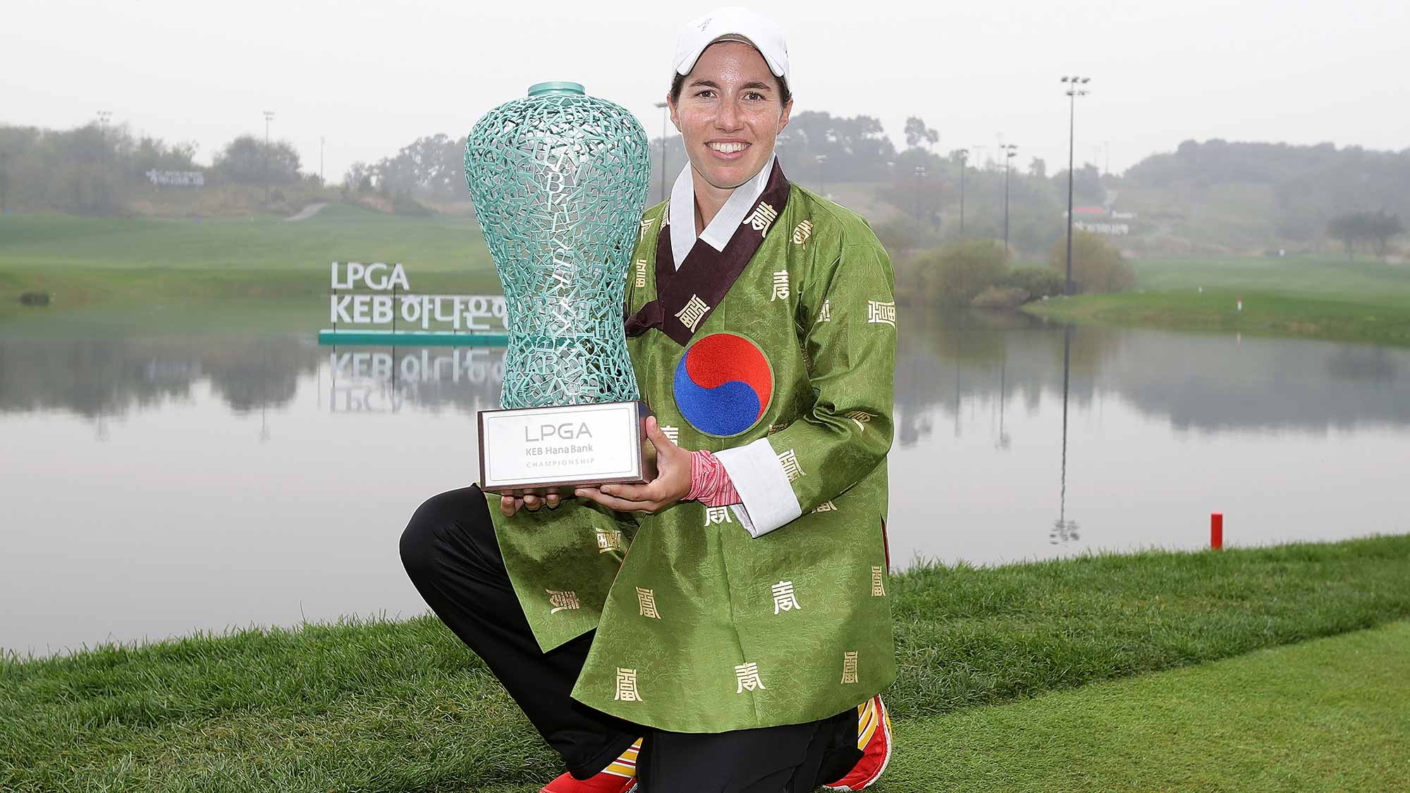 Carlota Ciganda of Spain lifts the winners trophy during a ceremony following the LPGA KEB-Hana Bank Championship at the Sky 72 Golf Club Ocean Course
