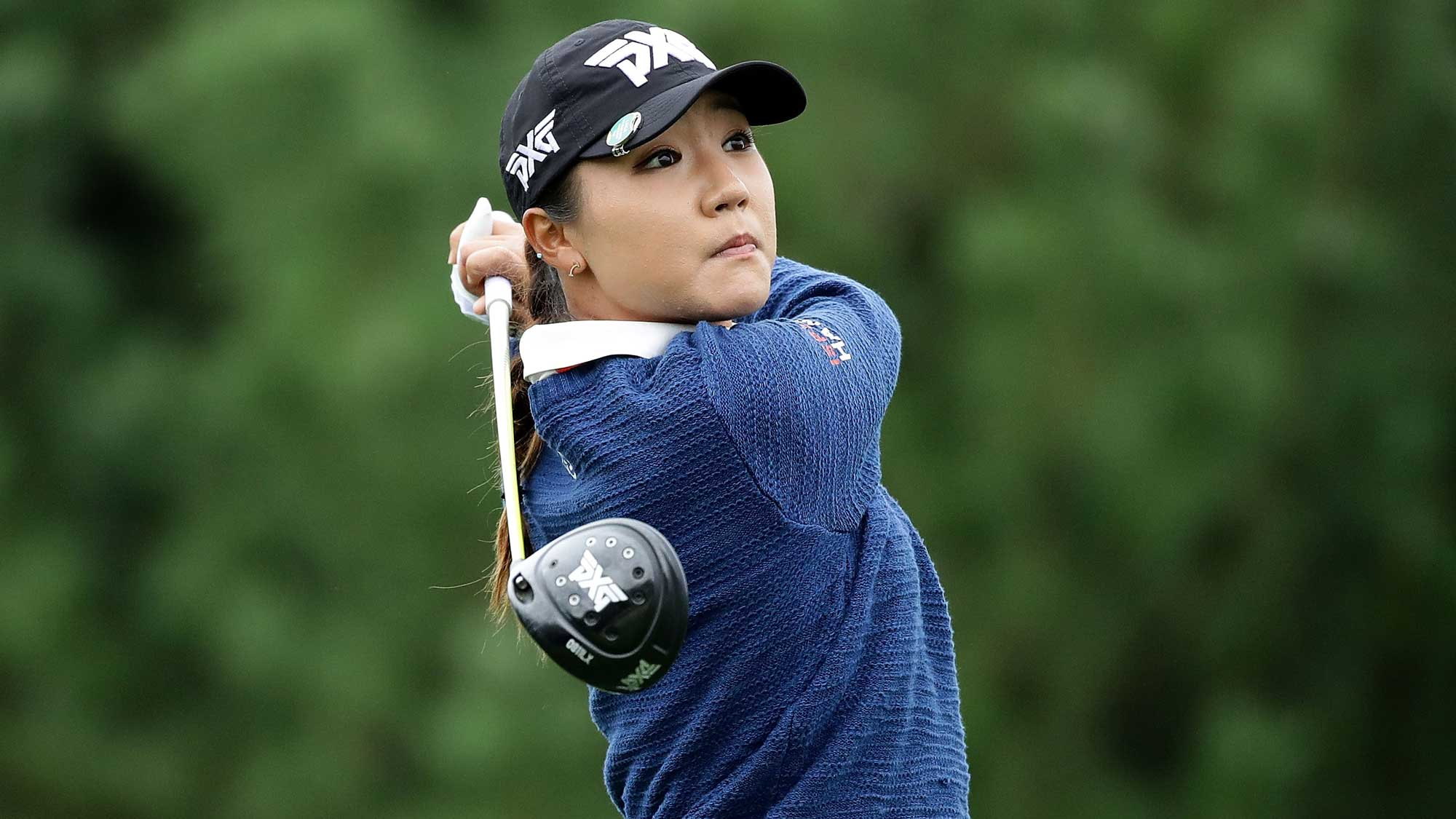 Lydia Ko of New Zealand plays a tee shot on the 2nd hole during the first round of the LPGA KEB Hana Bank Championship