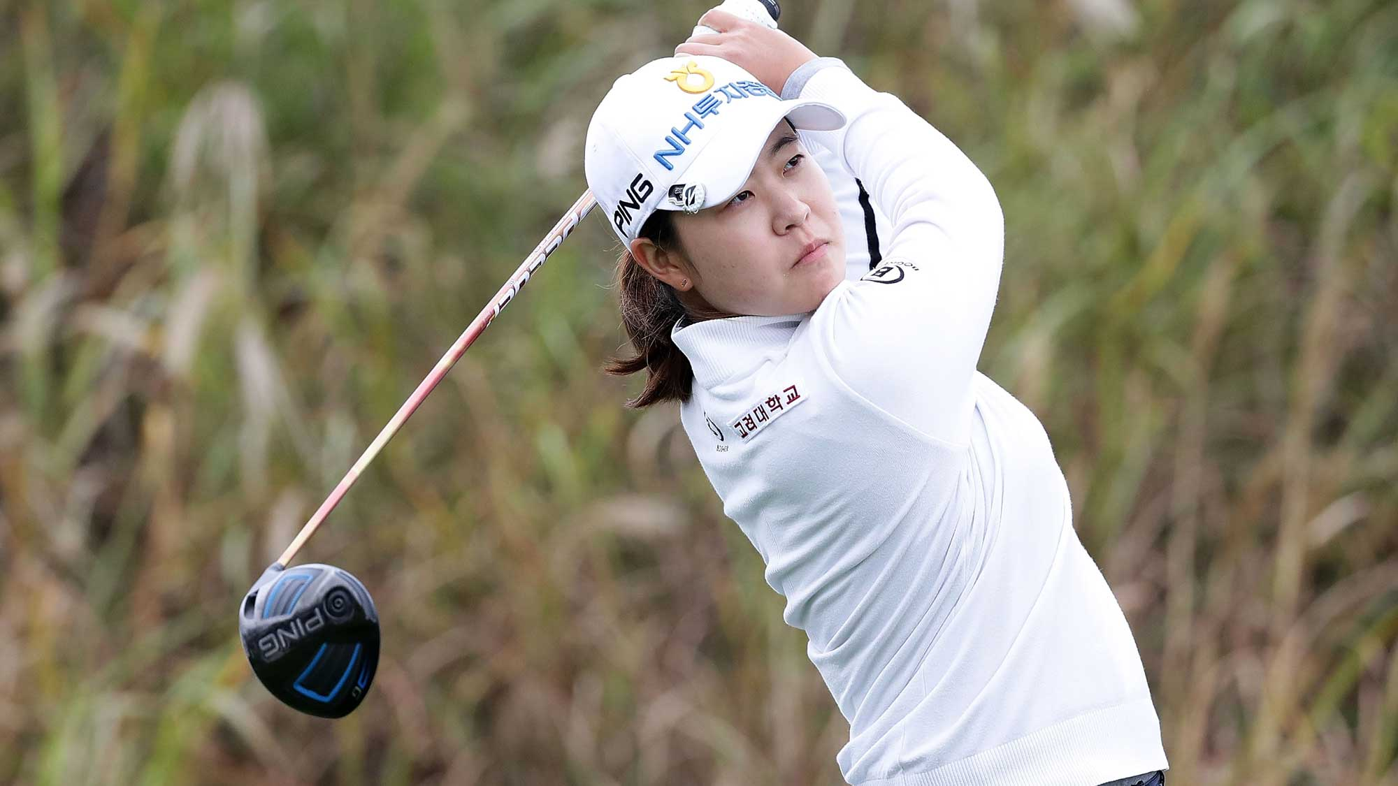 Min-Ji Park of South Korea plays a tee shot on the 9th hole during the first round of the LPGA KEB Hana Bank Championship