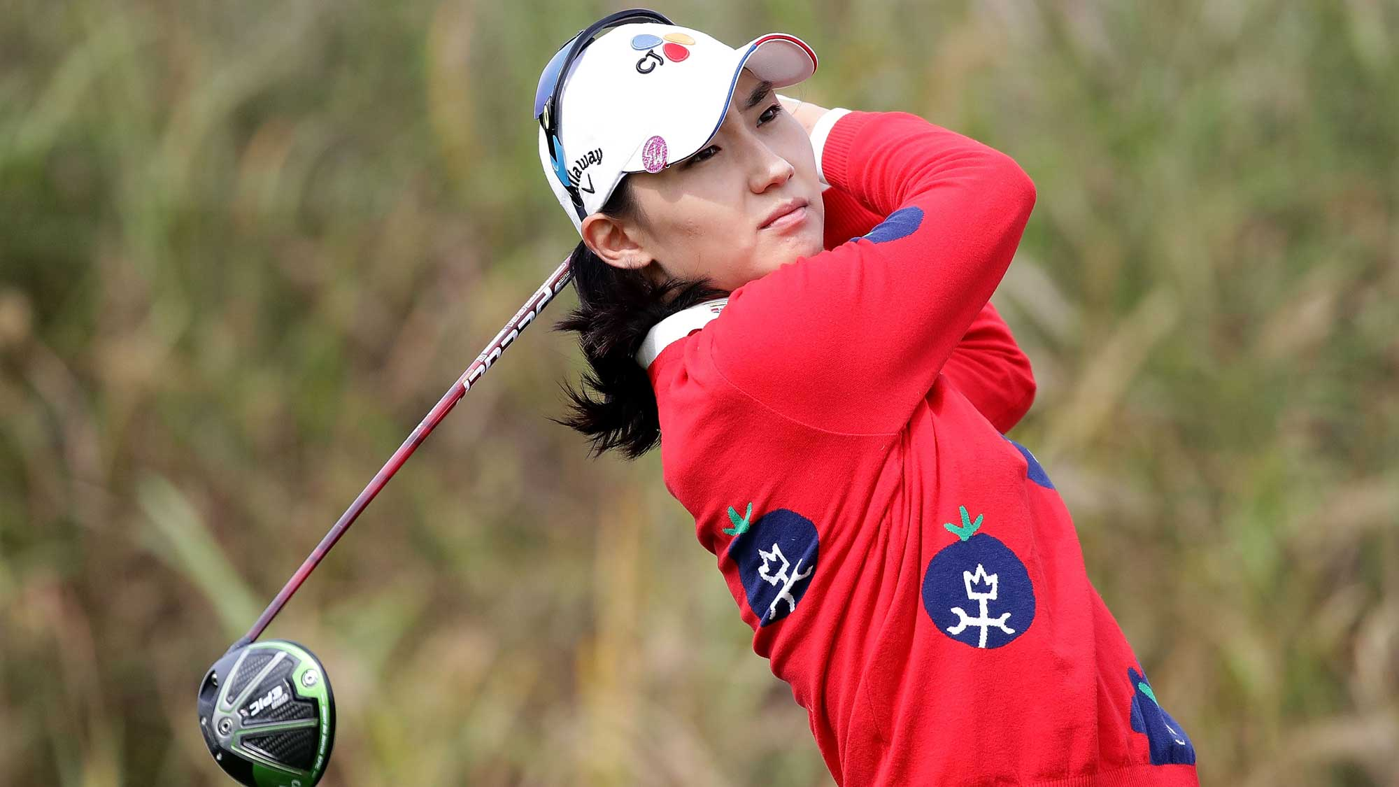 Min-Sun Kim of South Korea plays a tee shot on the 7th hole during the first round of the LPGA KEB Hana Bank Championship