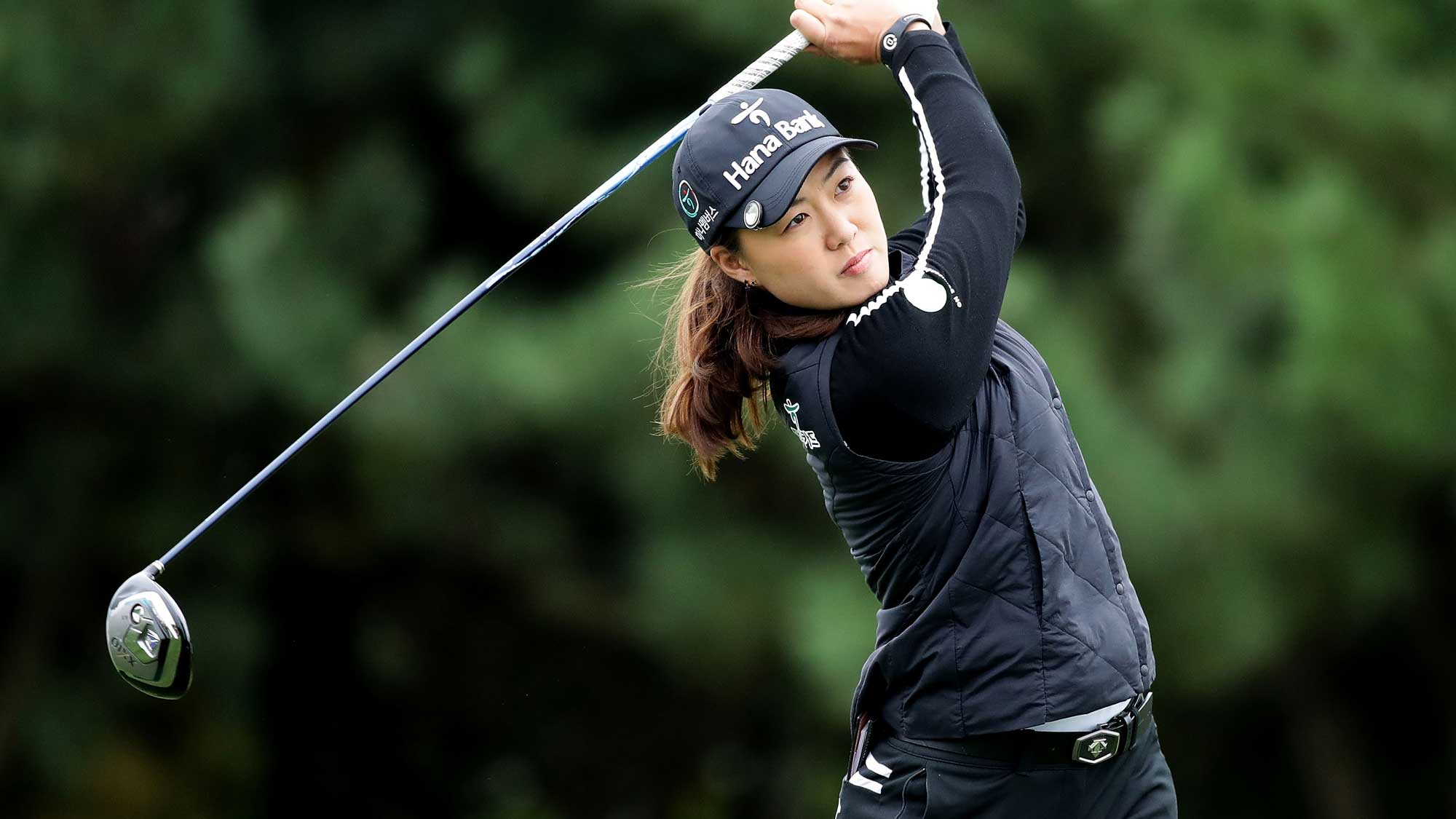 Minjee Lee of Australia plays a tee shot on the 2nd hole during the first round of the LPGA KEB Hana Bank Championship