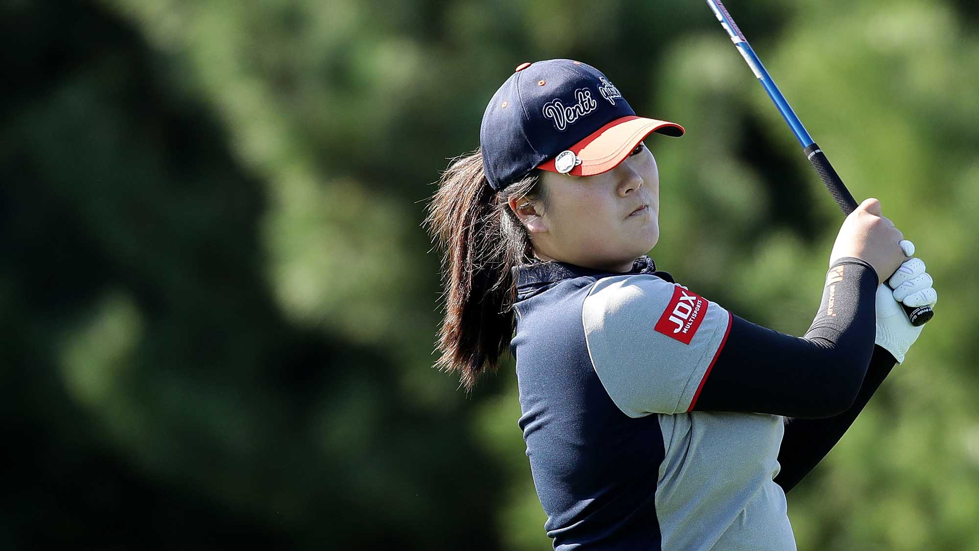Angel Yin of United States plays a tee shot on the 2nd hole during the second round of the LPGA KEB Hana Bank Championship