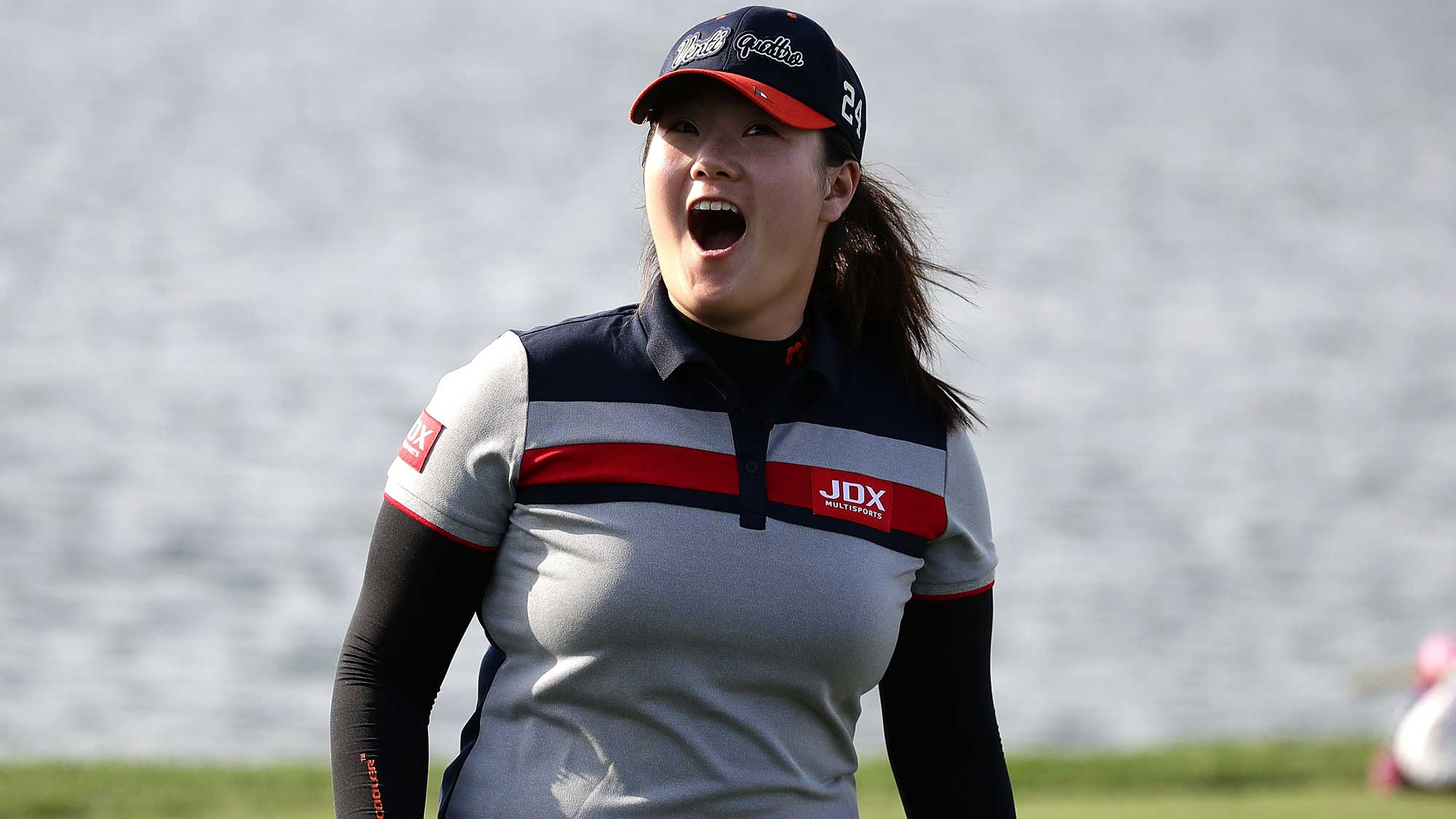 Angel Yin of United States reacts on the 18th green during the second round of the LPGA KEB Hana Bank Championship