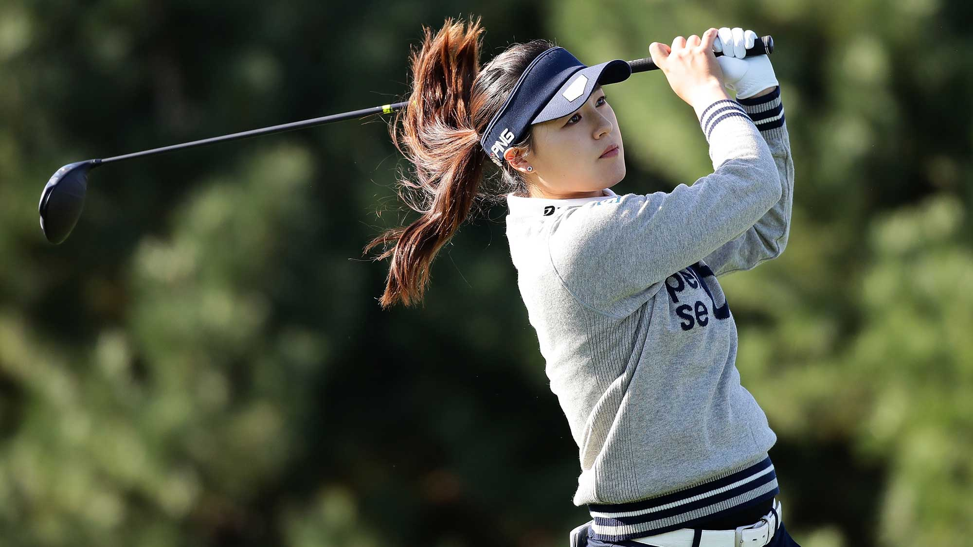 In-Gee Chun of South Korea plays a tee shot on the 2nd hole during the second round of the LPGA KEB Hana Bank Championship
