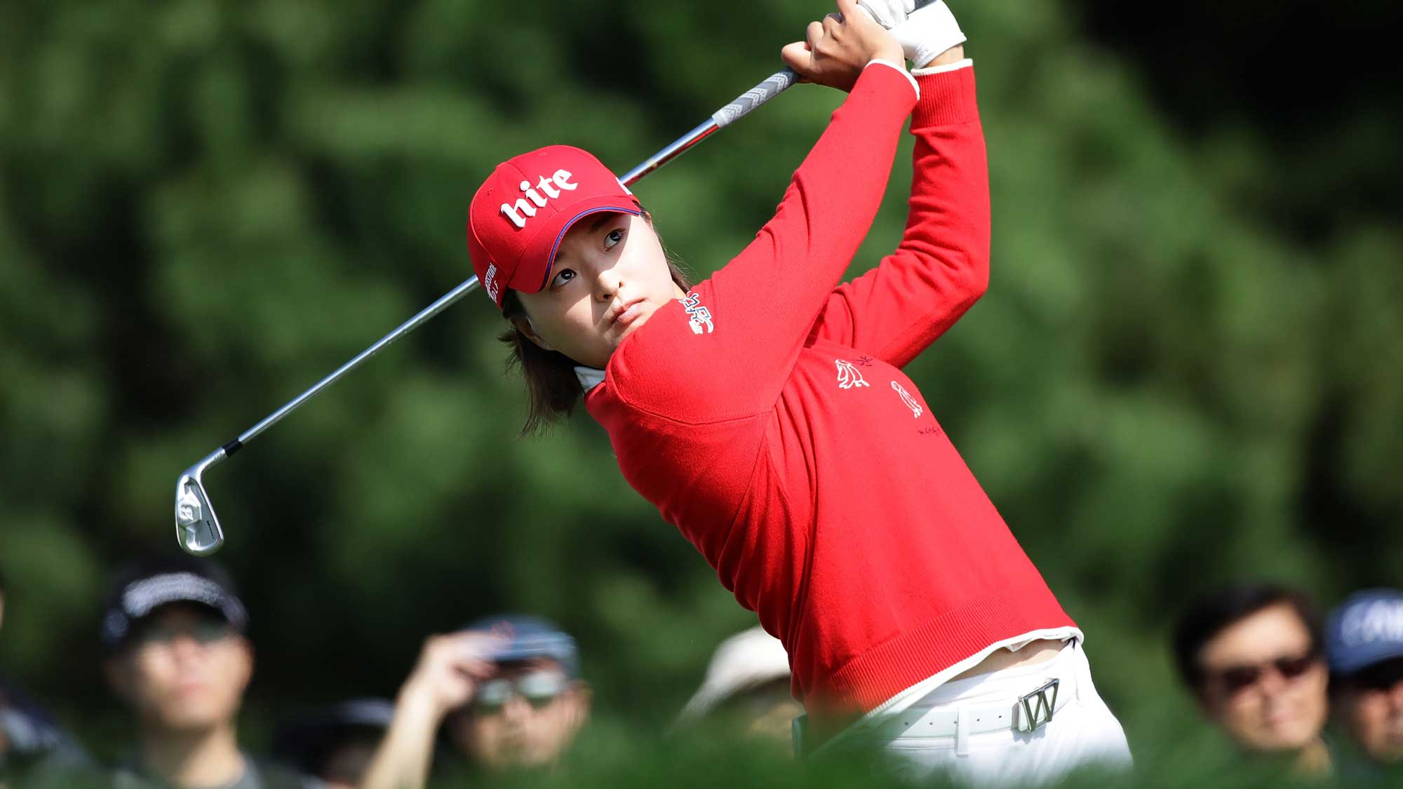 Jin-Young Ko of South Korea plays a tee shot on the 2nd hole during the third round of the LPGA KEB Hana Bank Championship