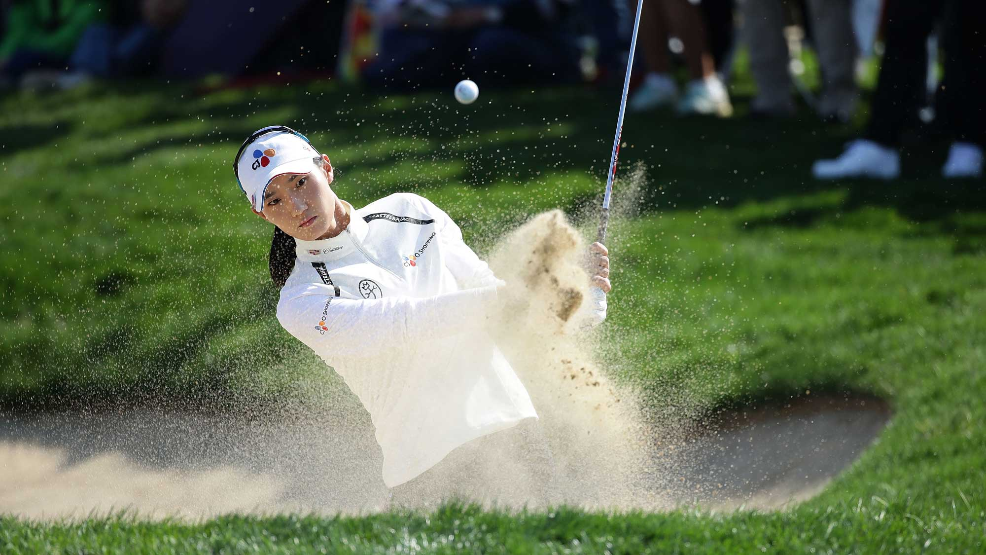 Min-Sun Kim of South Korea plays a bunker shot on the 6th hole during the third round of the LPGA KEB Hana Bank Championship