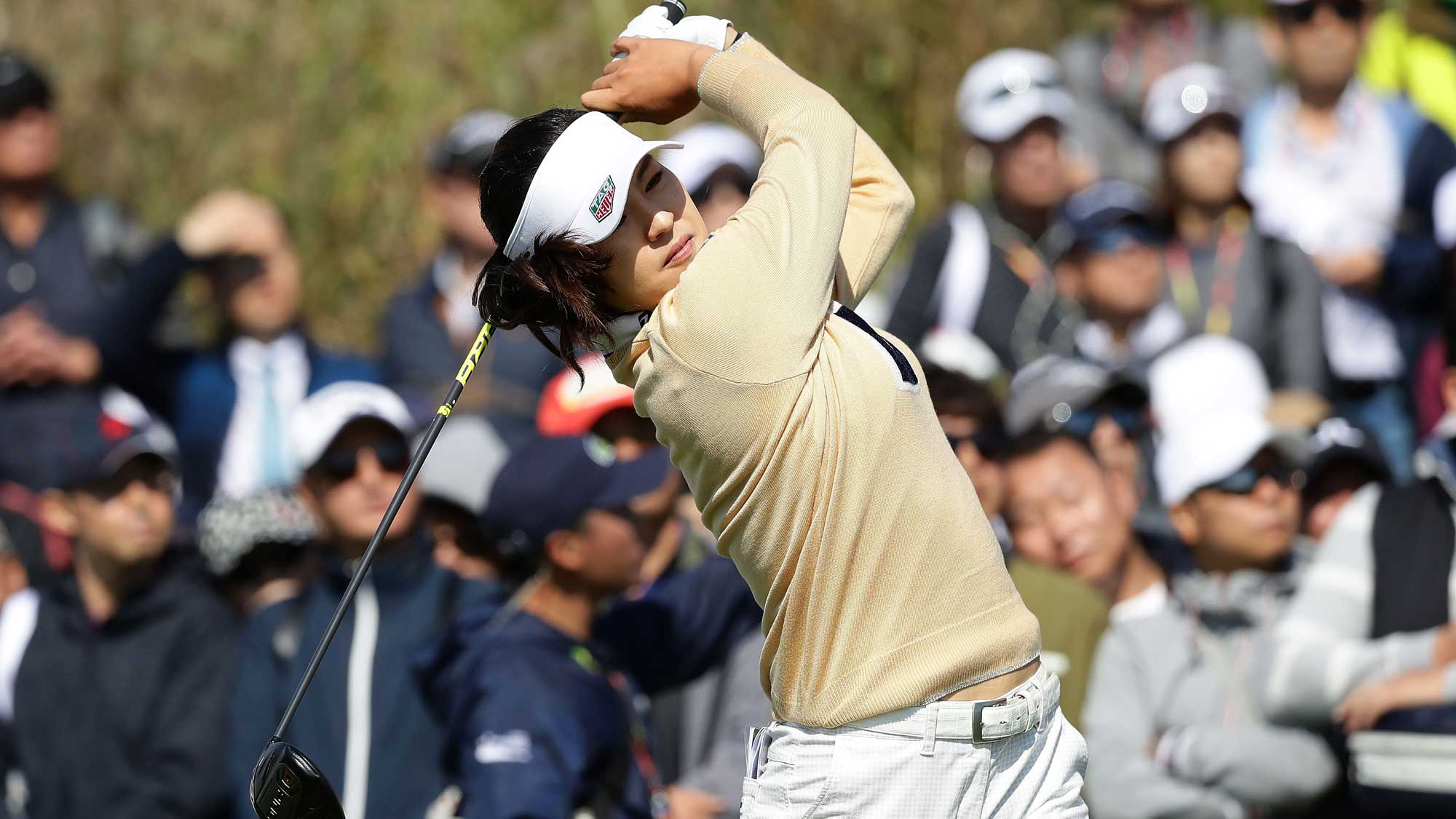 In-Gee Chun of South Korea plays a tee shot on the 7th hole during the final round of the LPGA KEB Hana Bank Championship