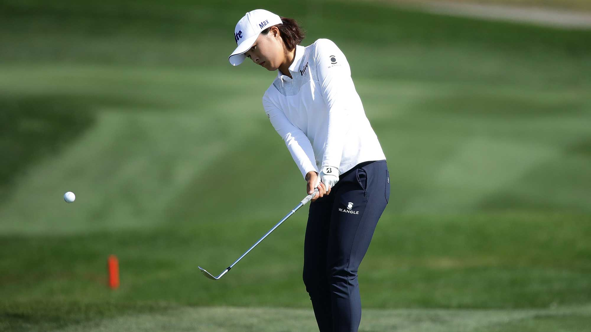 Jin-Young Ko of South Korea plays a shot on the 6th hole during the final round of the LPGA KEB Hana Bank Championship