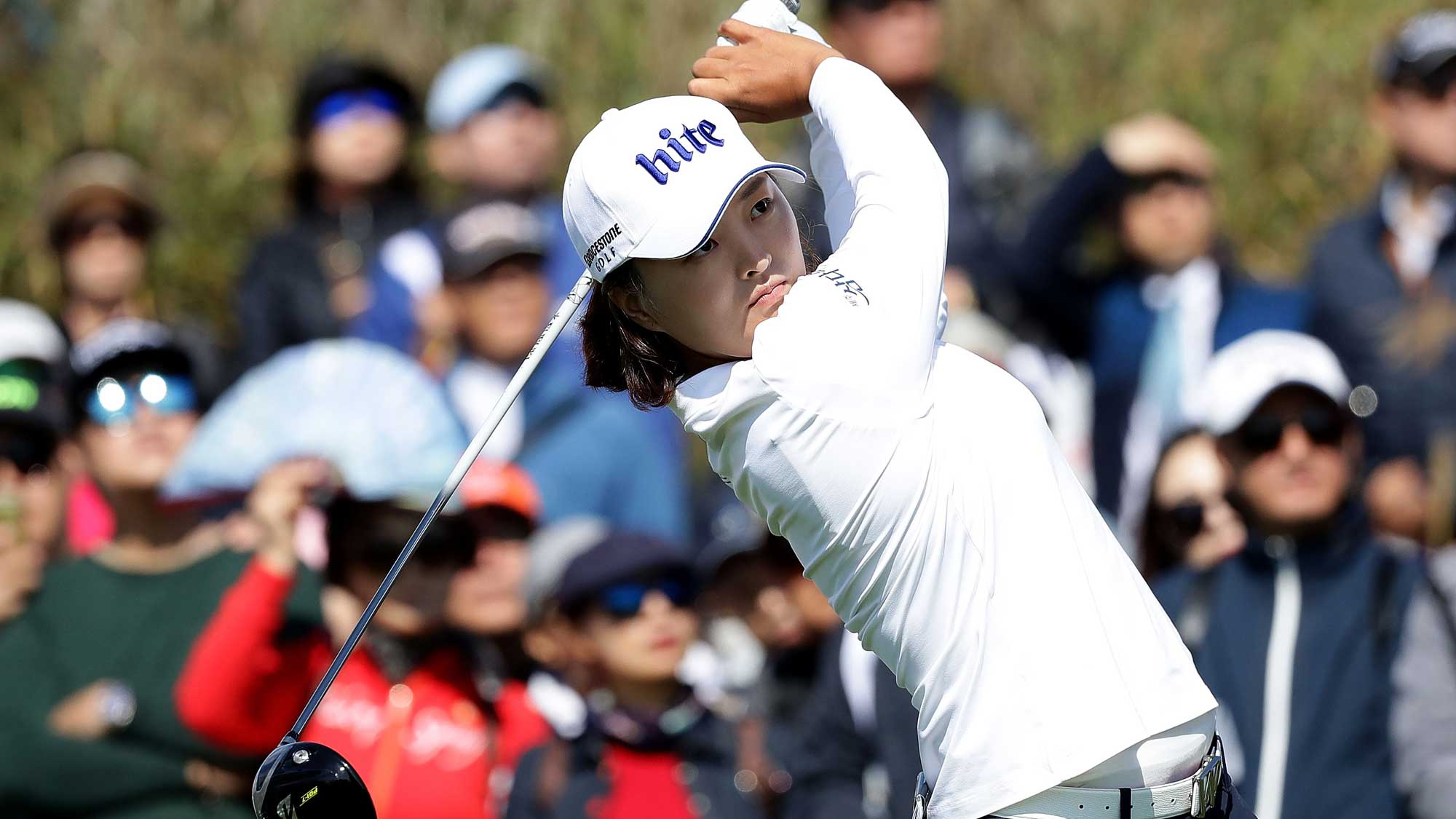 Jin-Young Ko of South Korea plays a tee shot on the 7th hole during the final round of the LPGA KEB Hana Bank Championship