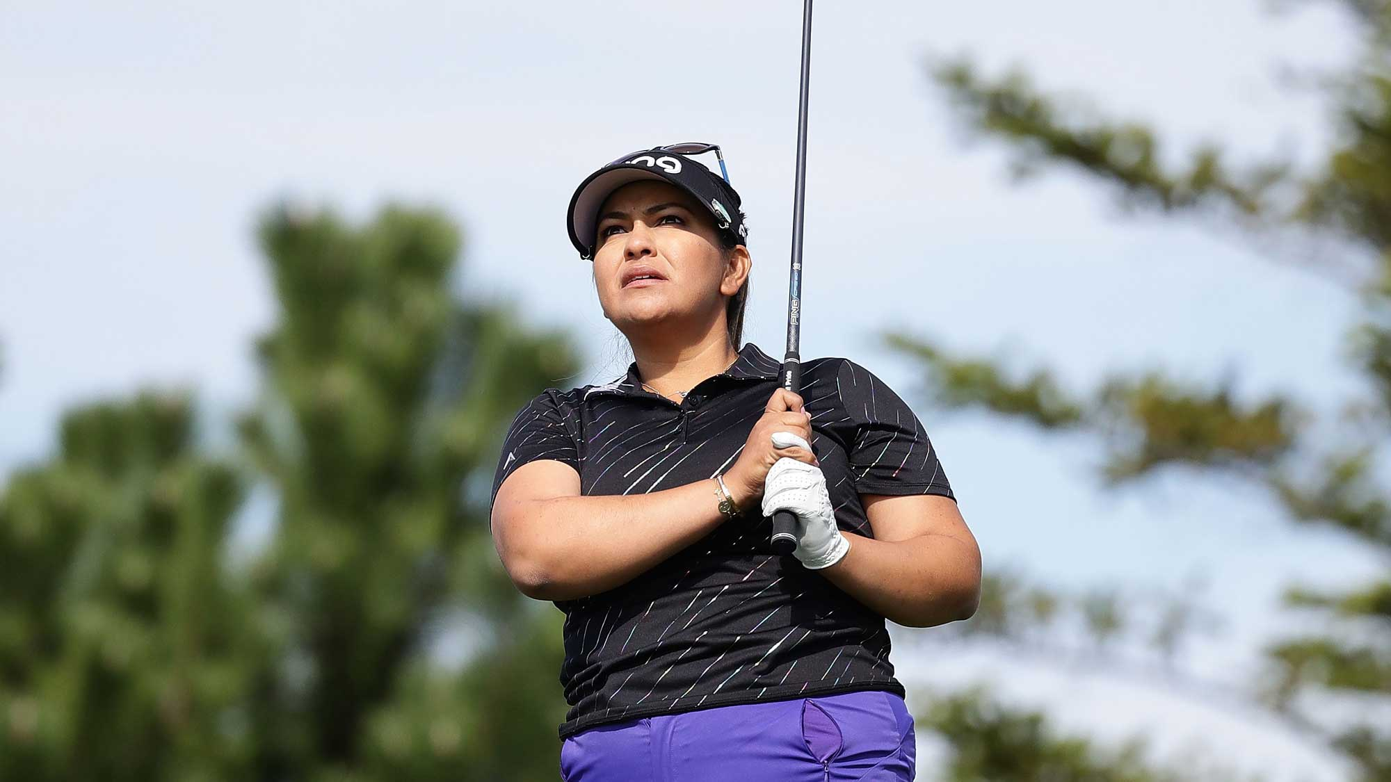 Lizette Salas of United States plays a tee shot on the 3rd hole during the final round of the LPGA KEB Hana Bank Championship