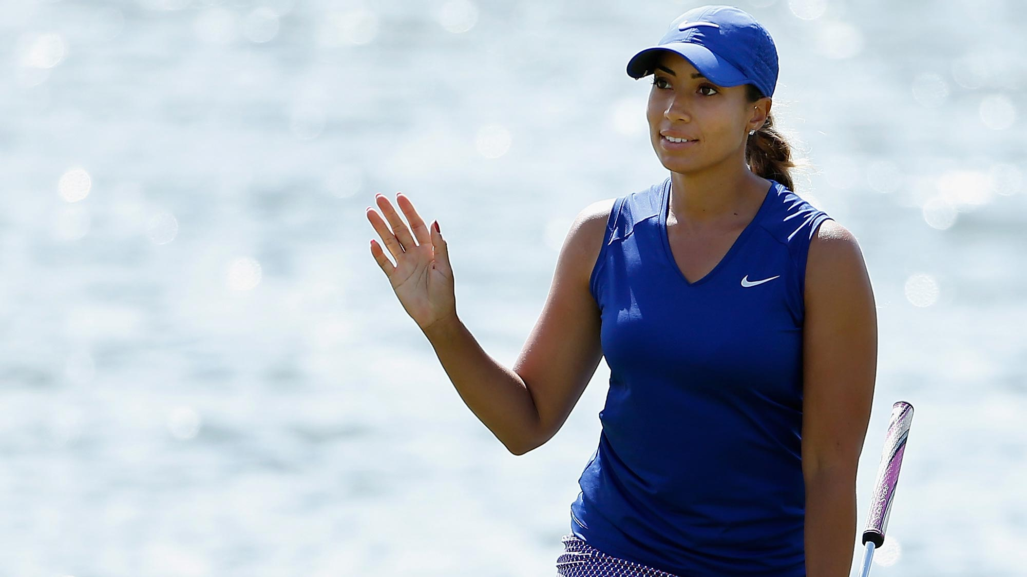 Cheyenne Woods reacts after a par putt on the 18th green during the first round of the LPGA LOTTE Championship Presented By Hershey