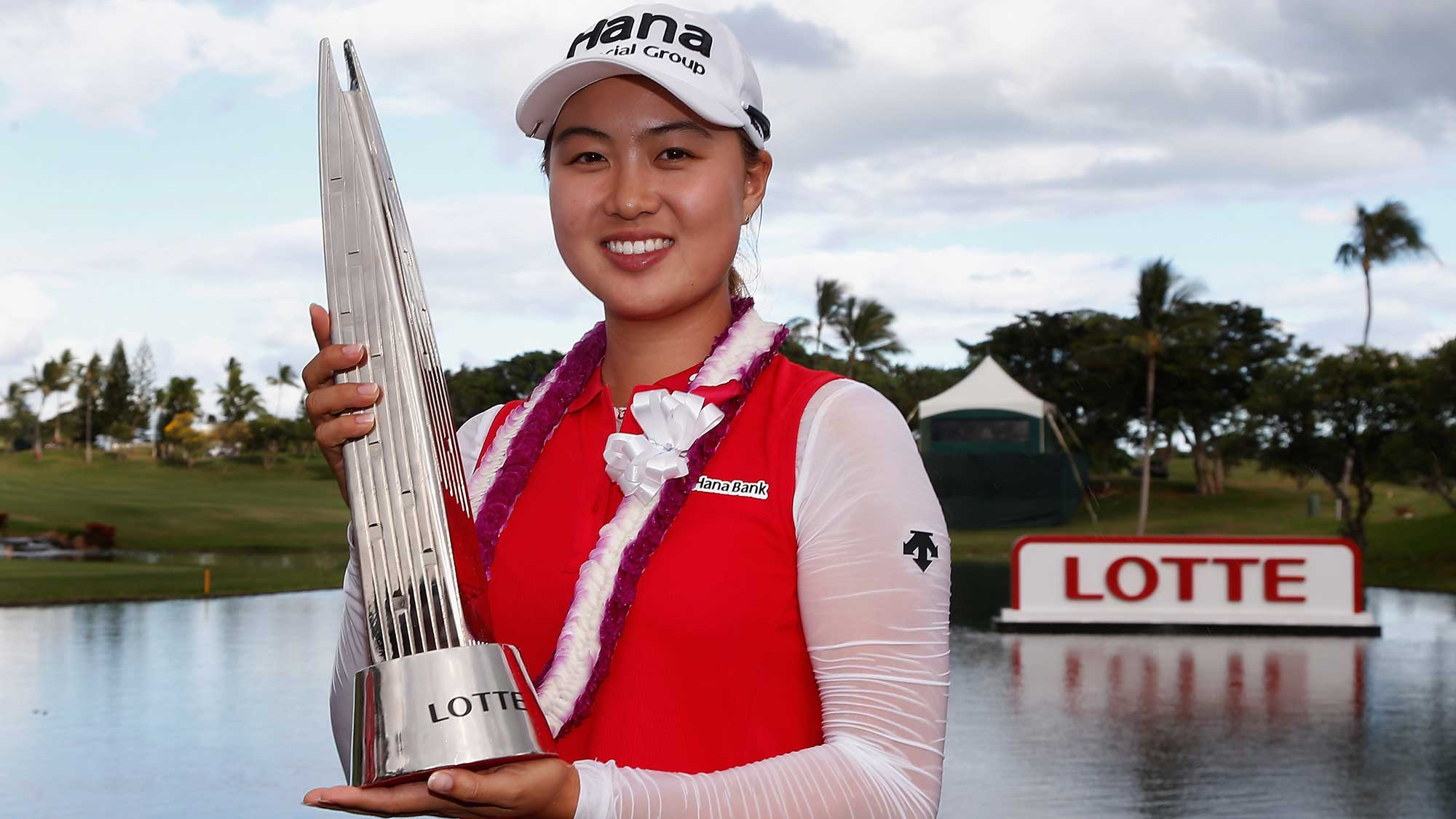Minjee Lee of Australia poses with the LOTTE Championship trophy after winning in the final round of the LPGA LOTTE Championship Presented By Hershey