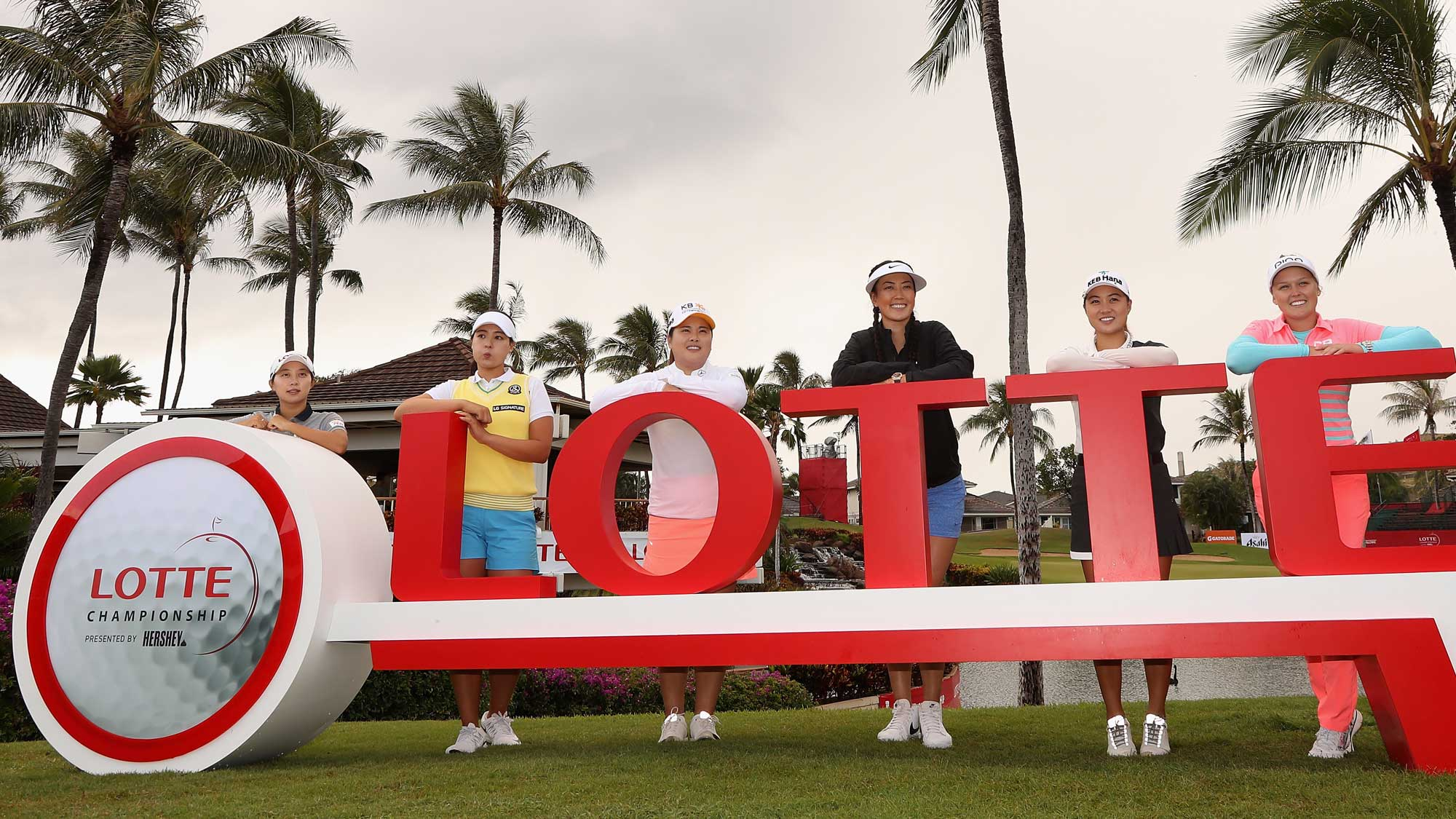 (L-R) Hyo Joo Kim, In Gee Chun, Inbee Park, Michelle Wie, Minjee Lee and Brooke M. Henderson pose together at a photo call ahead of the LPGA LOTTE Championship Presented By Hershey at Ko Olina Golf Club