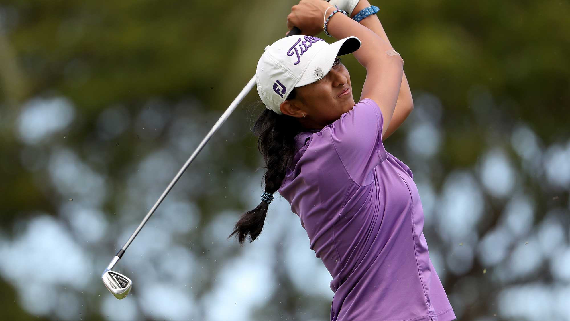 Aditi Ashok of India plays a tee shot on the eighth hole during the first round of the LPGA LOTTE Championship Presented By Hershey