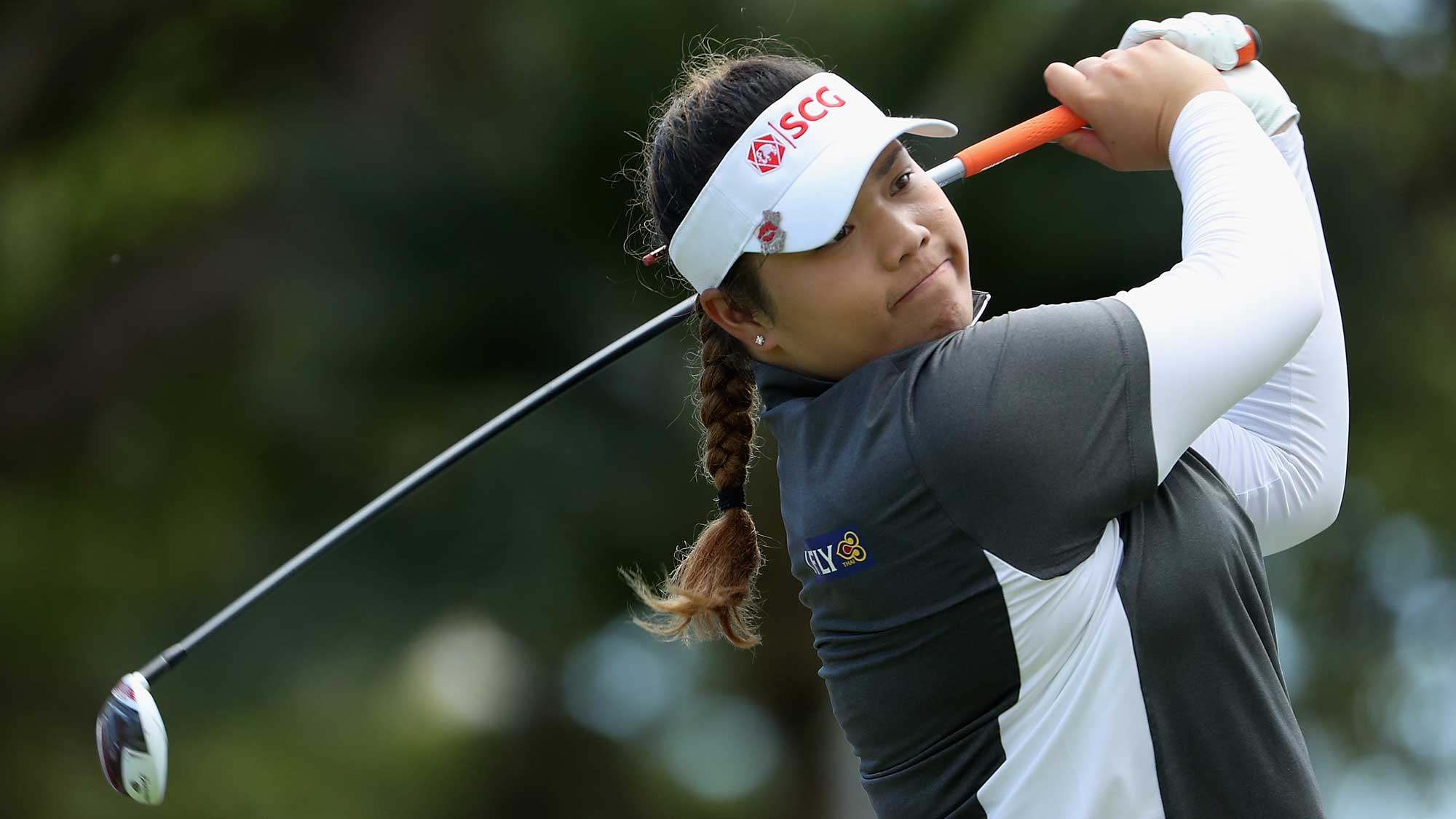 Ariya Jutanugarn of Thailand plays a tee shot on the eighth hole during the first round of the LPGA LOTTE Championship Presented By Hershey