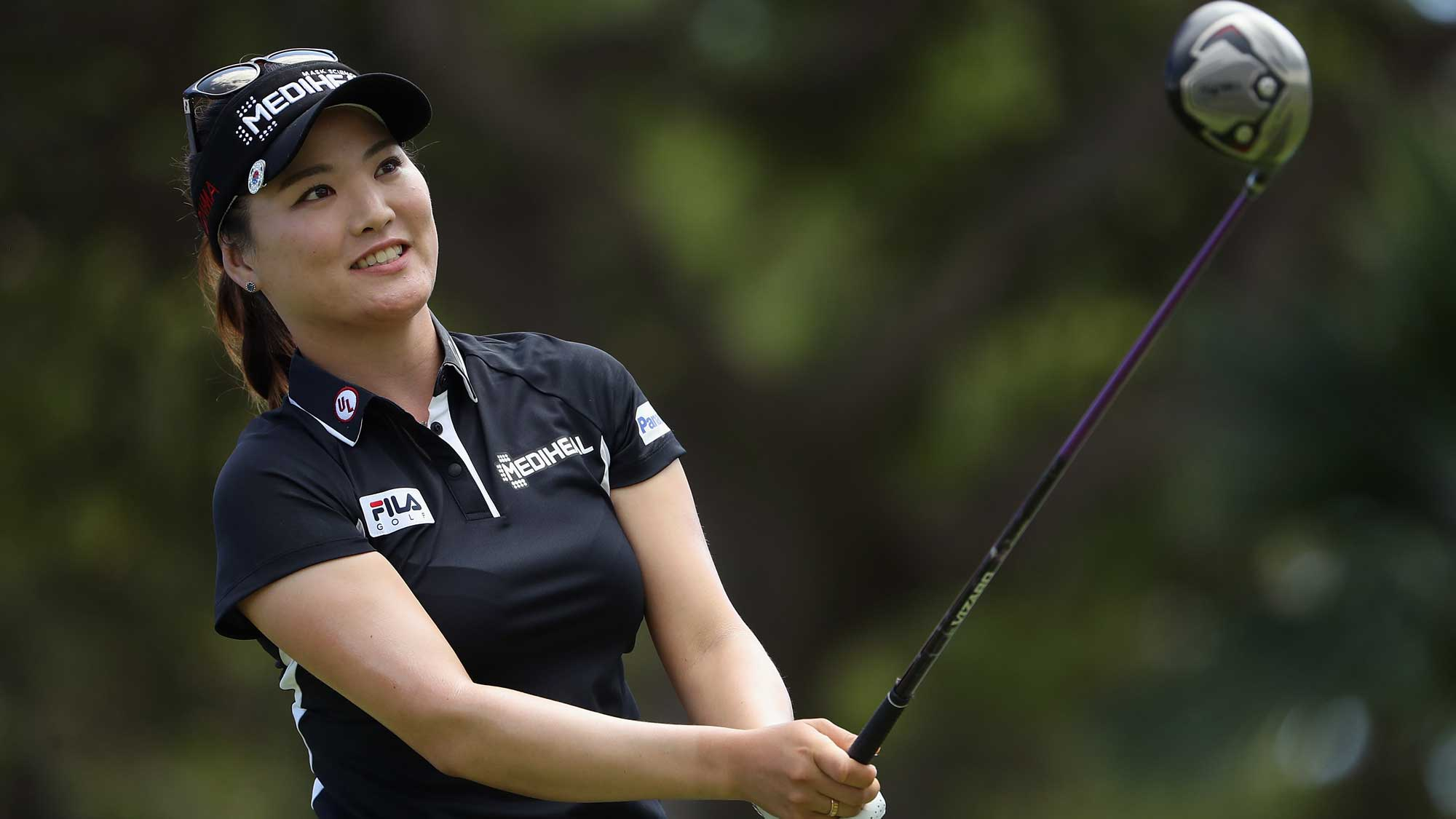 So Yeon Ryu of Republic of Korea plays a tee shot on the ninth hole during the first round of the LPGA LOTTE Championship Presented By Hershey