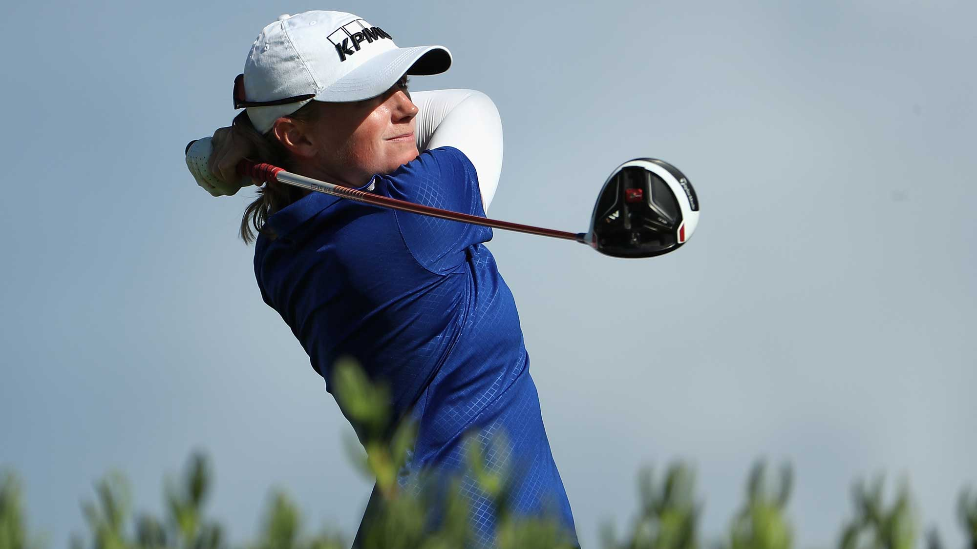 Stacy Lewis plays a tee shot on the 13th hole during the first round of the LPGA LOTTE Championship Presented By Hershey