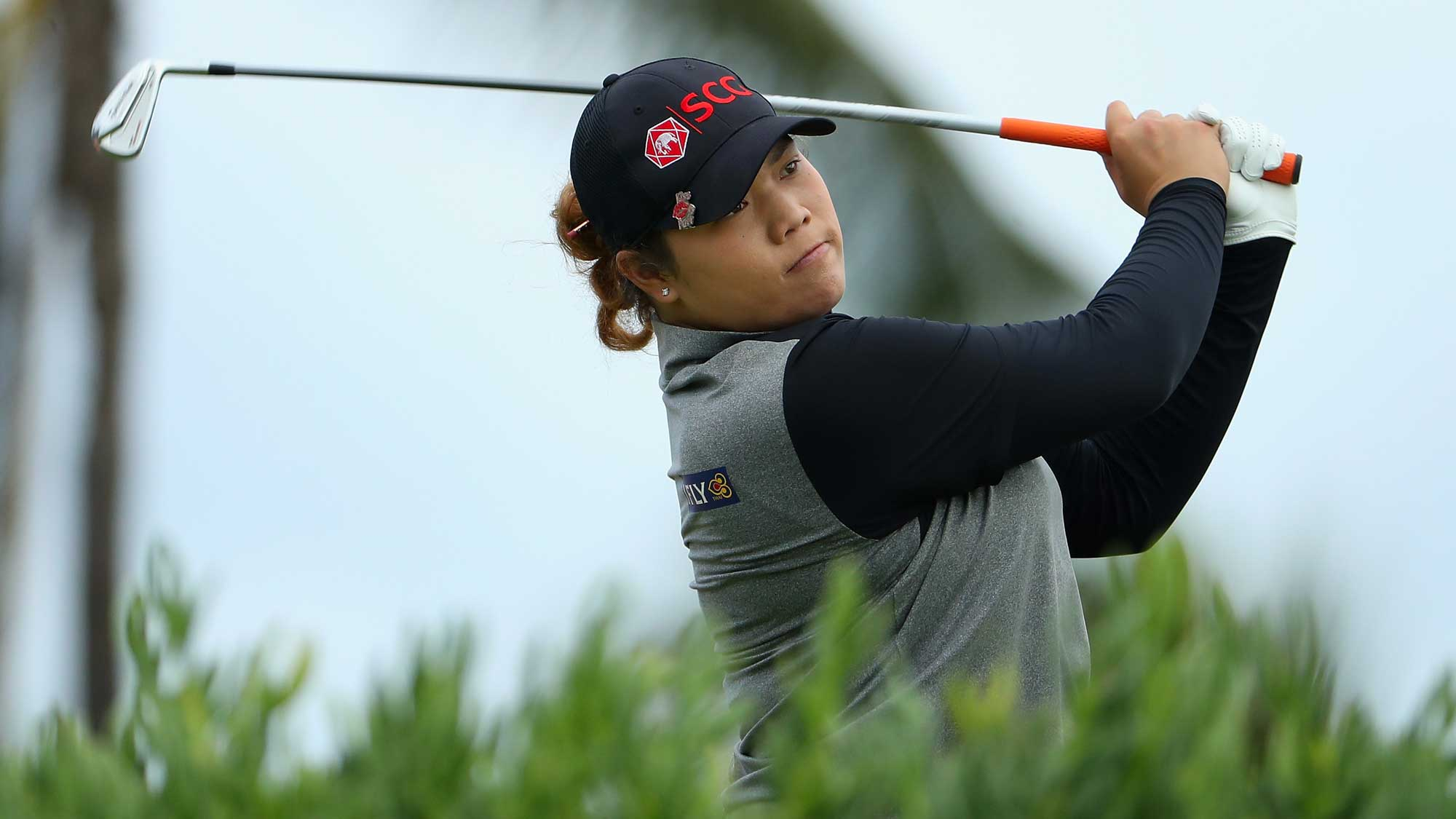 Ariya Jutanugarn of Thailand plays a tee shot on the 13th hole during the second round of the LPGA LOTTE Championship Presented By Hershey