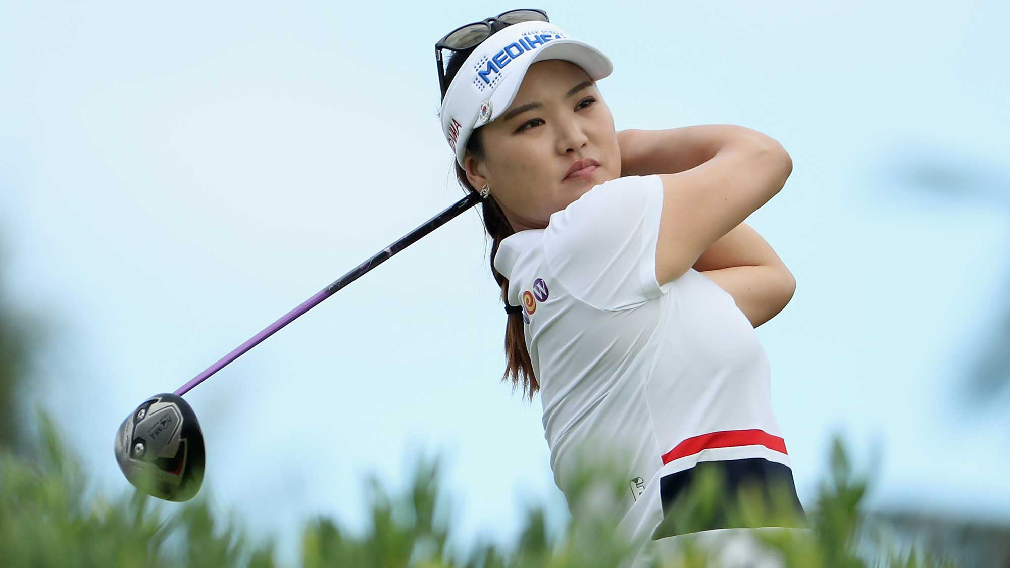 So Yeon Ryu of Republic of Korea plays a tee shot on the 13th hole during the second round of the LPGA LOTTE Championship Presented By Hershey