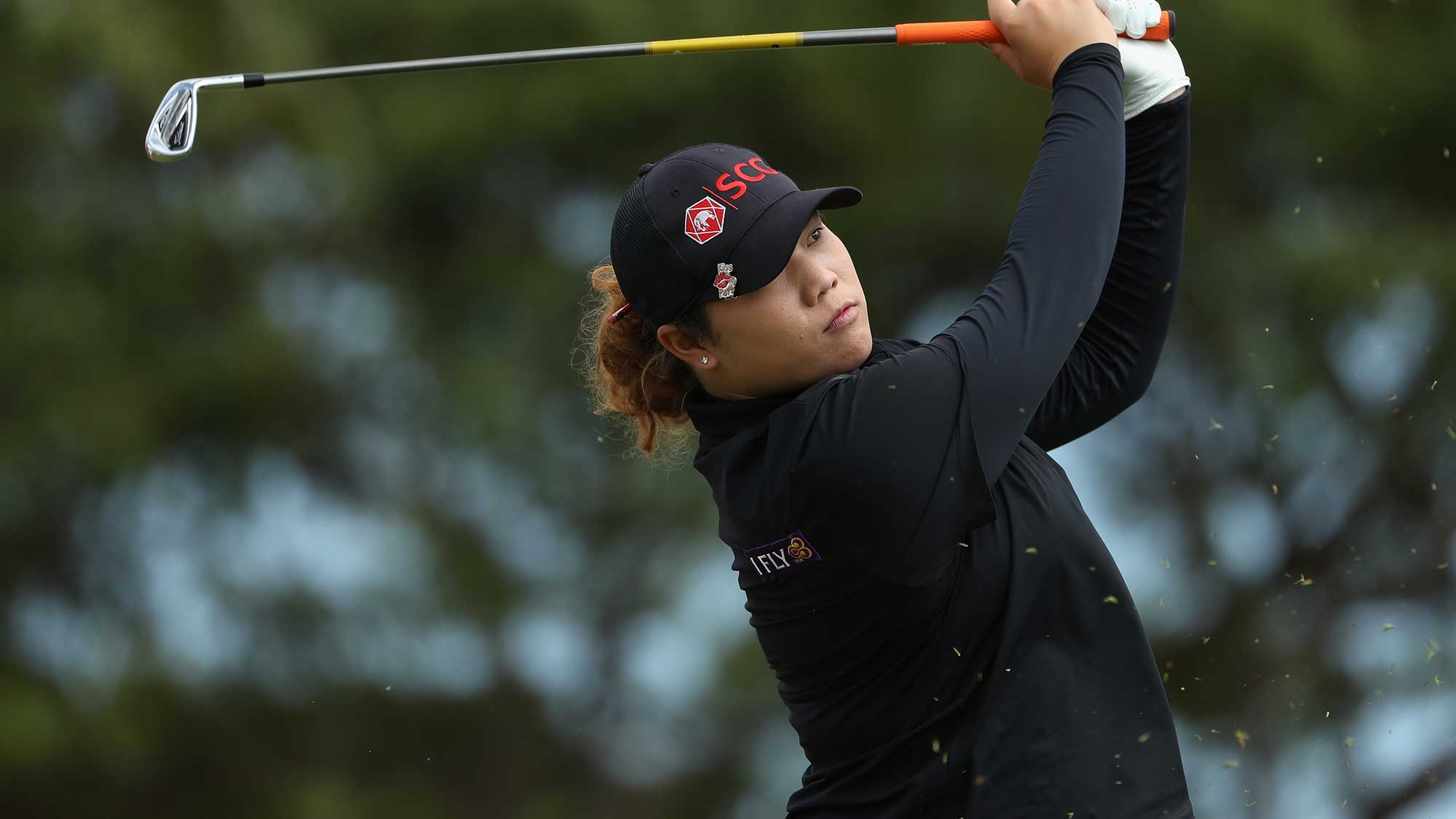 Ariya Jutanugarn of Thailand plays a tee shot on the ninth hole during the third round of the LPGA LOTTE Championship Presented By Hershey