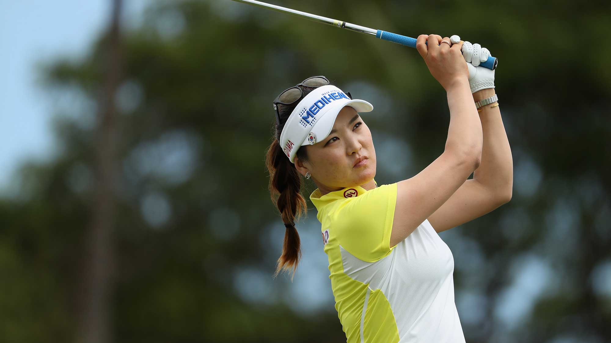 So Yeon Ryu of Republic of Korea plays a tee shot on the eighth hole during the third round of the LPGA LOTTE Championship Presented By Hershey
