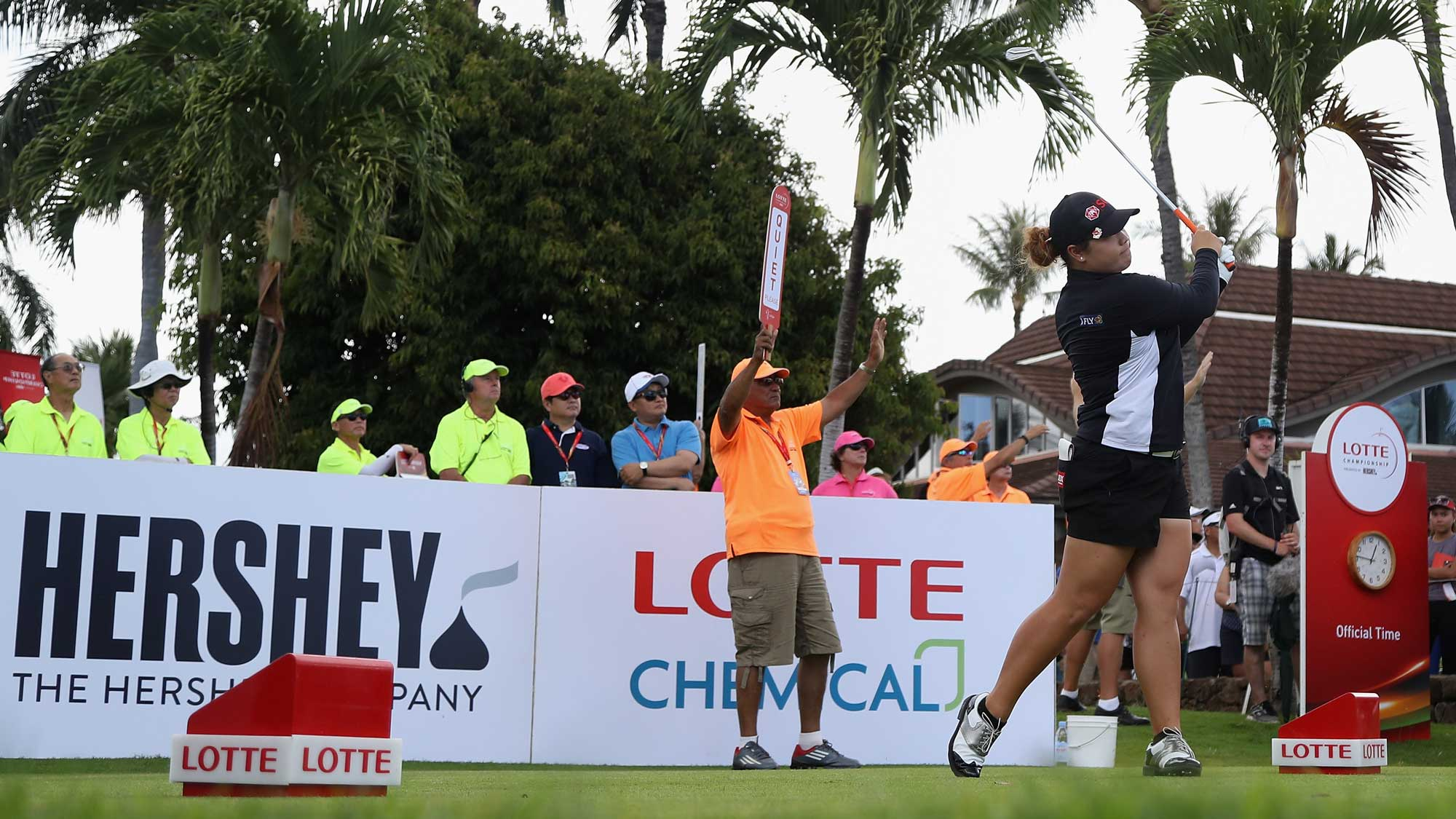 Ariya Jutanugarn of Thailand plays a tee shot on the first hole during the final round of the LPGA LOTTE Championship Presented By Hershey