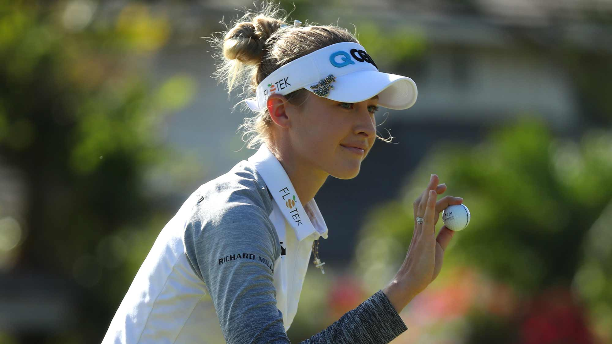 Nelly Korda waves to fans after a birdie on the 15th green during the first round of the Lotte Championship on April 18, 2019 in Kapolei, Hawaii