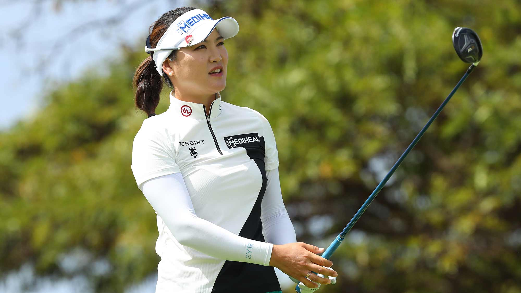 So Yeon Ryu of South Korea watches her tee shot on the 17th hole during the first round of the LOTTE Championship on April 18, 2019 in Kapolei, Hawaii