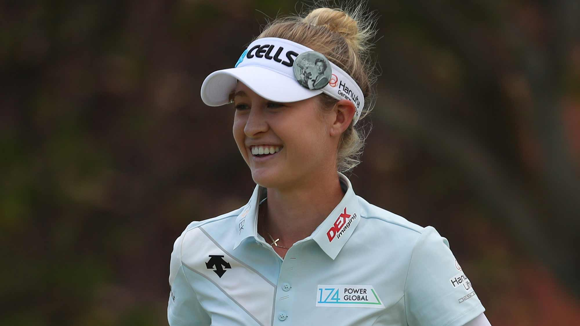 Nelly Korda smiles after finishing her second round of the LOTTE Championship on April 19, 2019 in Kapolei, Hawaii